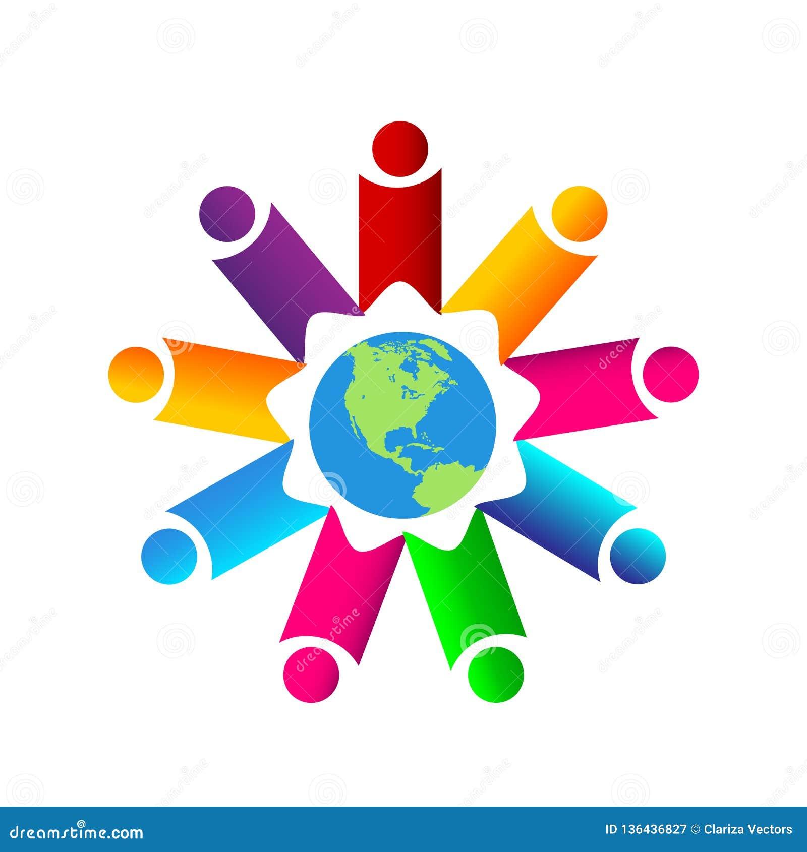 La gente combina la unión del trabajo junta que la gente colorida trabaja junta el logotipo con el globo