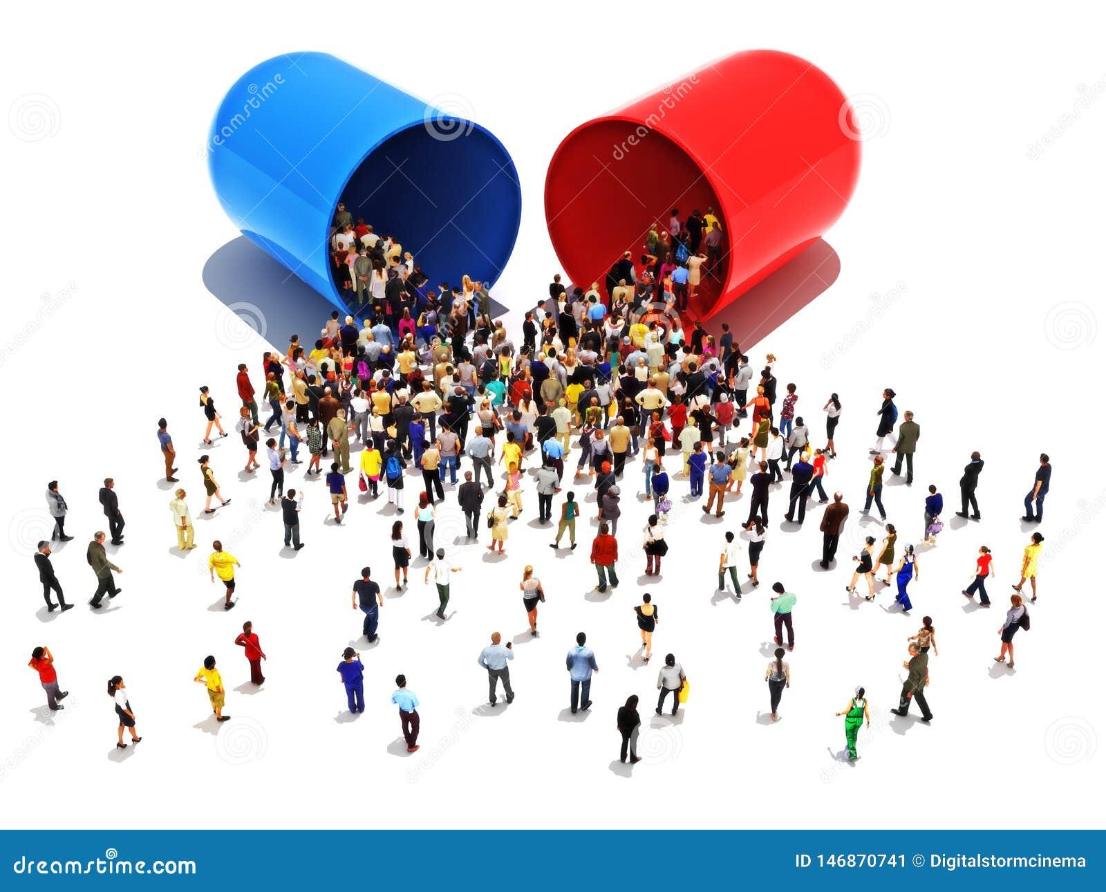 La gente con le dipendenze al concetto delle pillole Grande gruppo di persone che camminano verso ed in un farmaco o in una droga