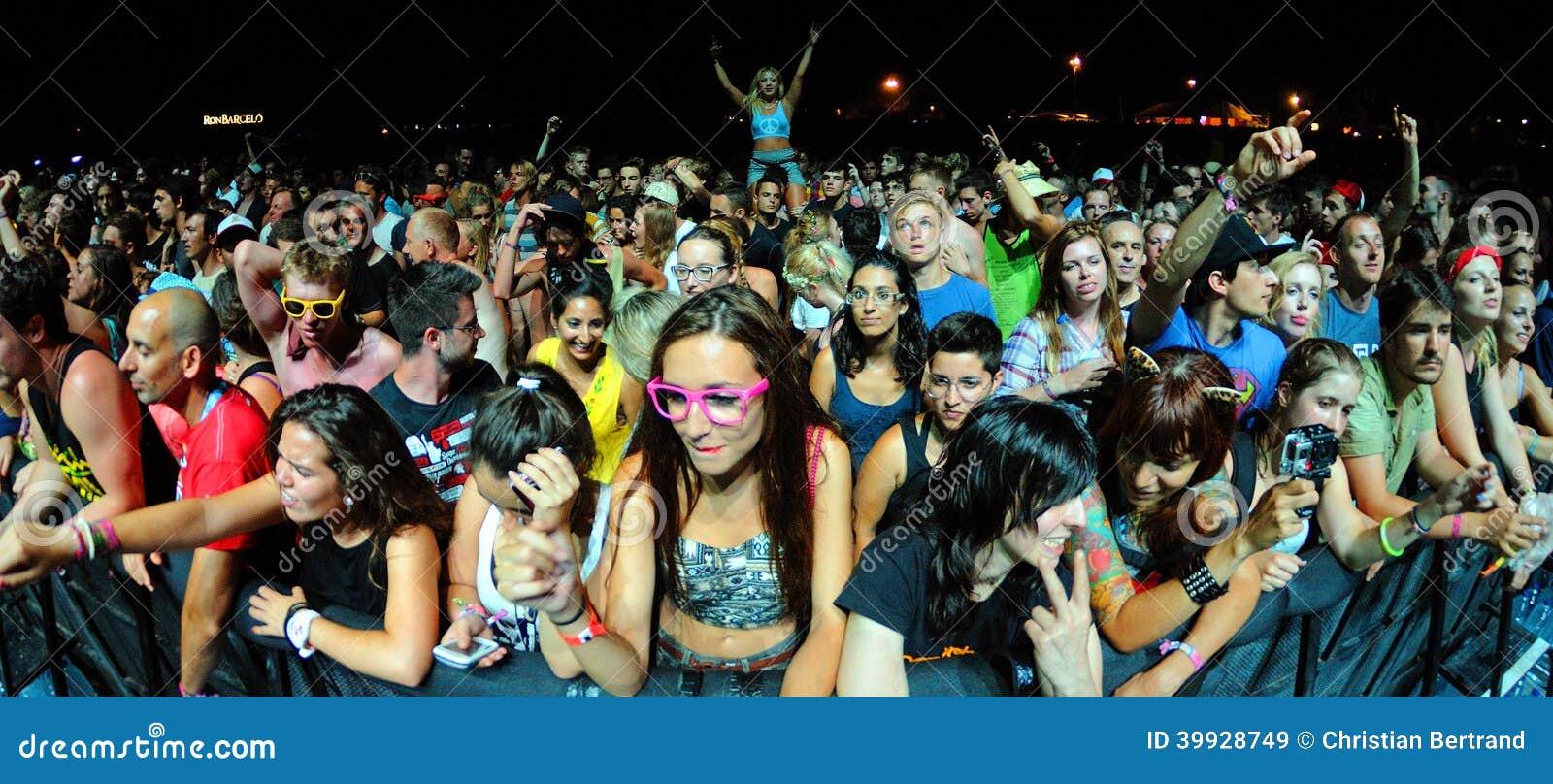 La gente de la muchedumbre (fans) mira un concierto en el festival de la BOLA