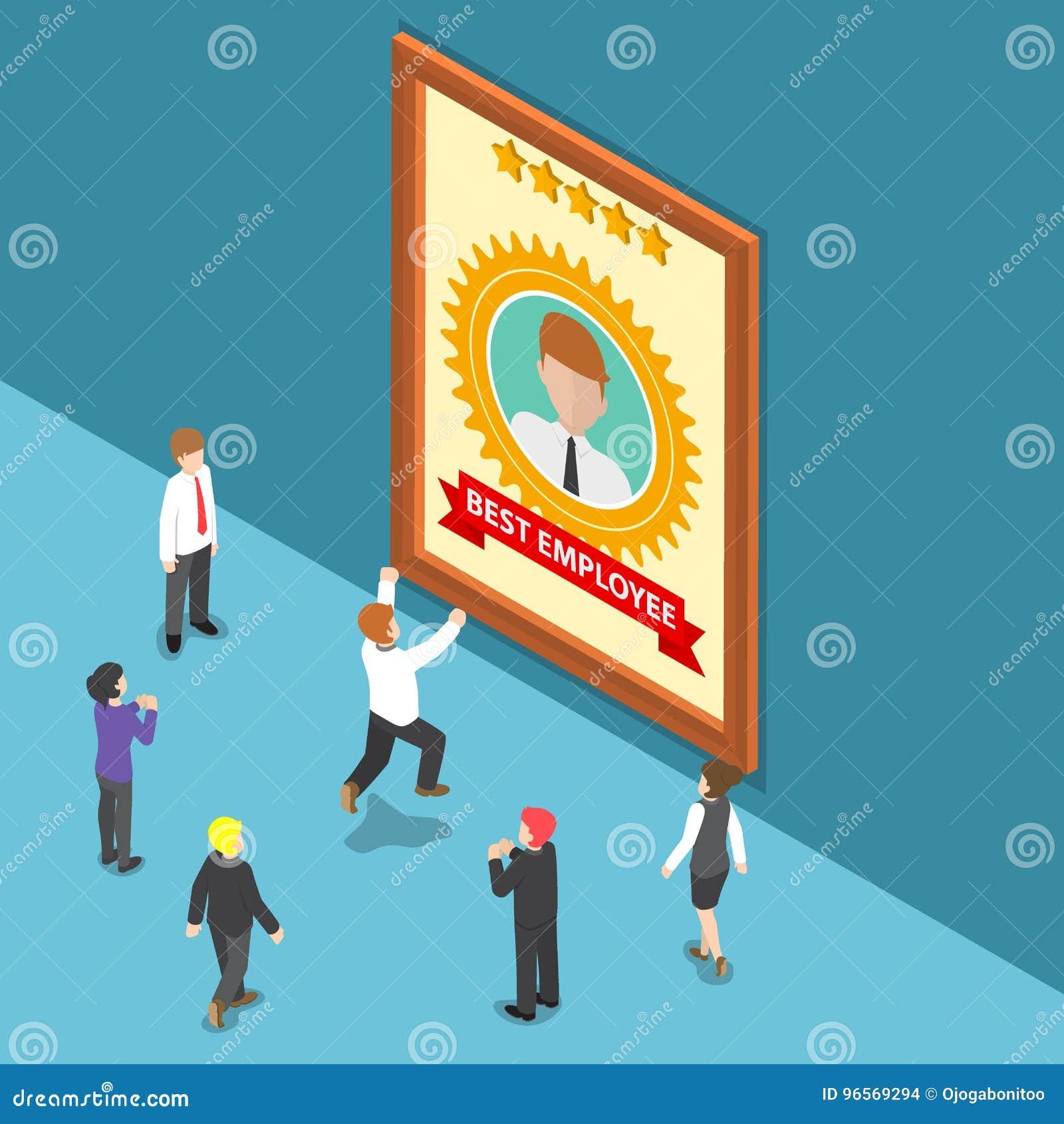 La gente di affari isometrica celebra il migliore premio degli impiegati