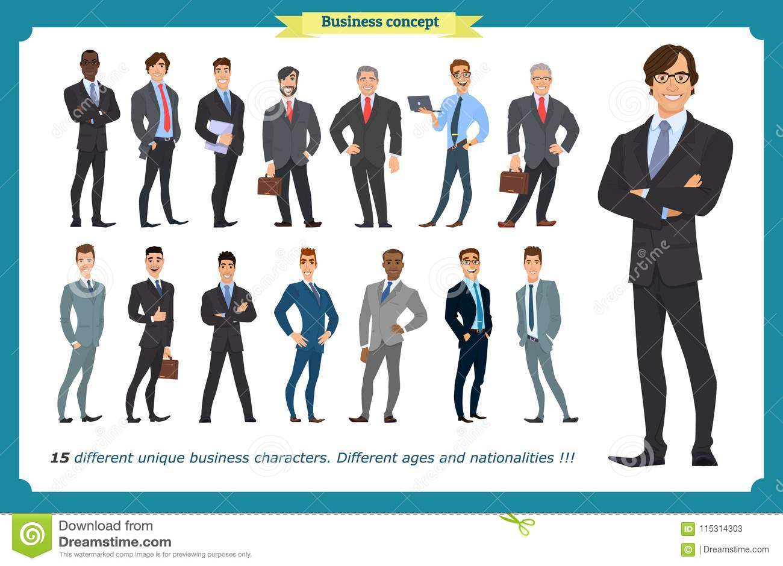 La gente di affari messa degli uomini in vestiti ha isolato il vettore su un bianco