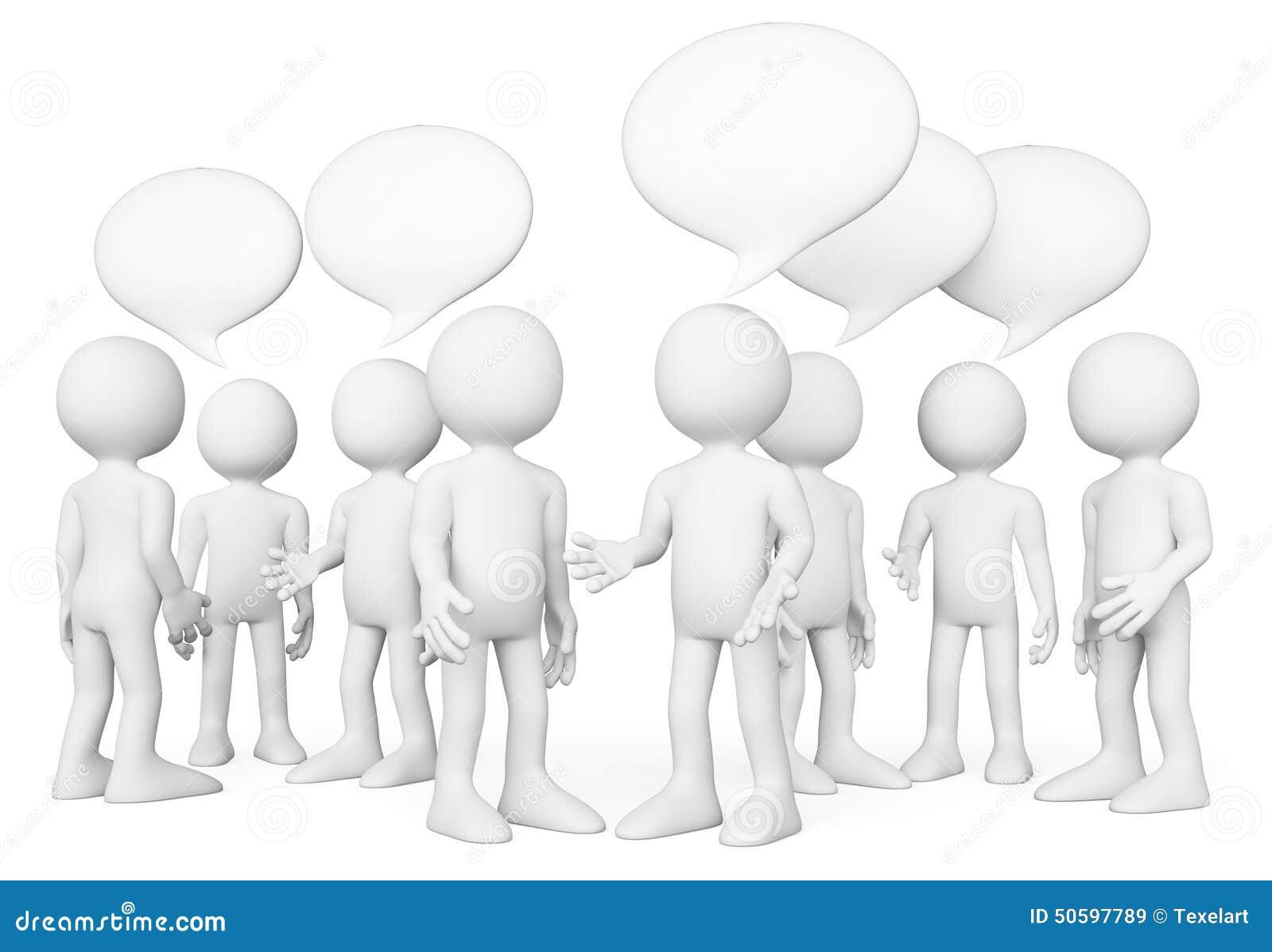 La gente di bianco 3d Gruppo di persone conversazione Concetto di chiacchierata