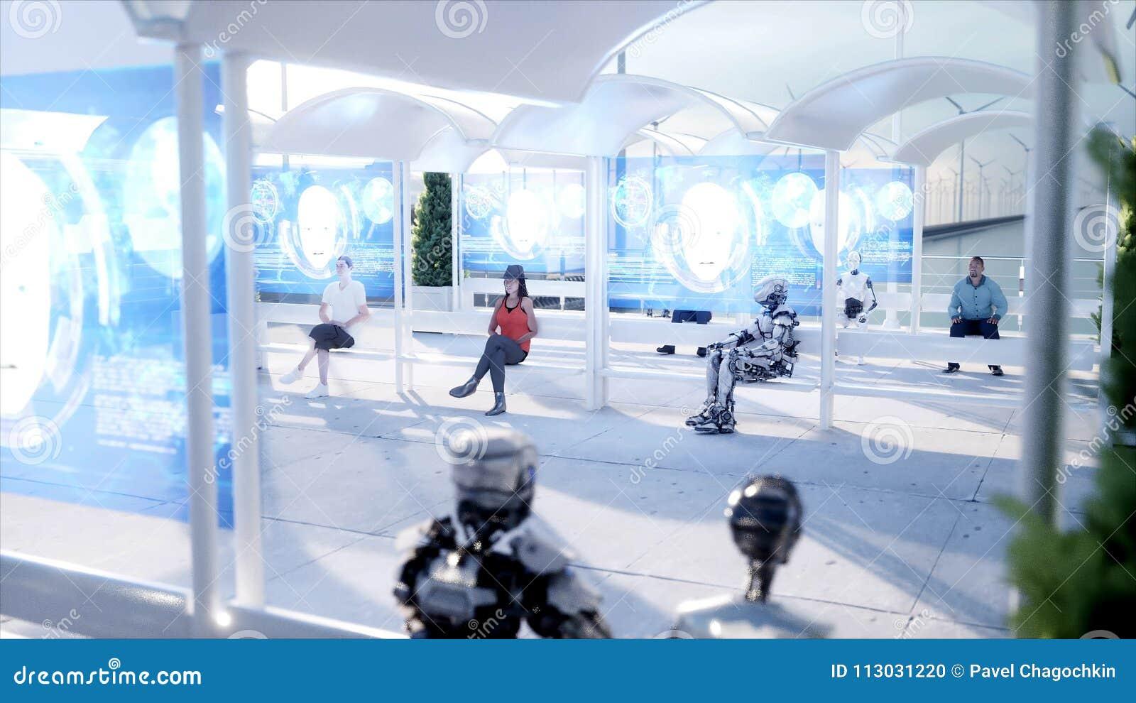 La gente e robot Stazione di Sci fi Trasporto futuristico della monorotaia Concetto di futuro rappresentazione 3d