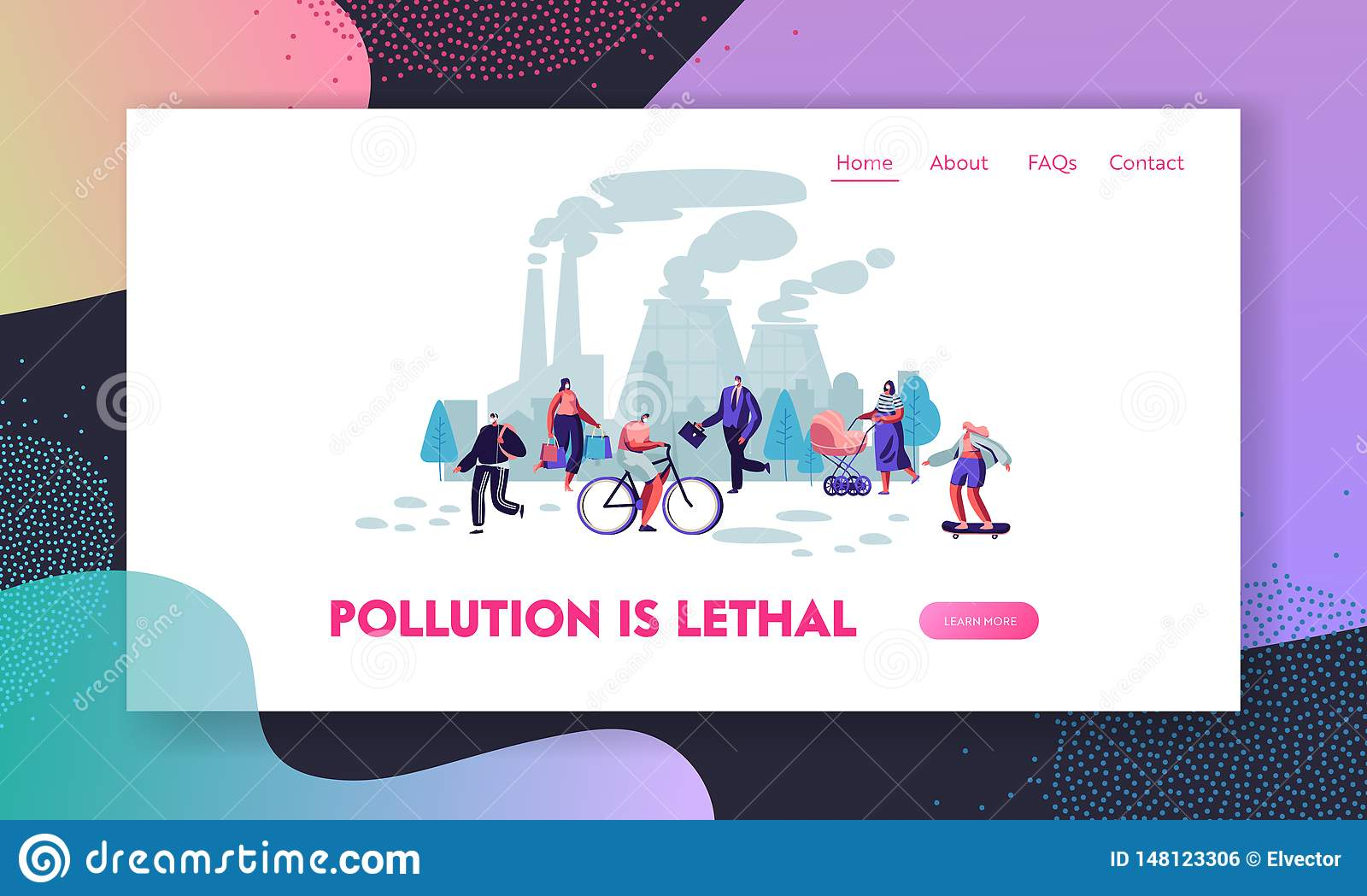 La gente en mascarillas protectoras en la calle, fábrica instala tubos la emisión de humo Contaminación atmosférica, niebla con h