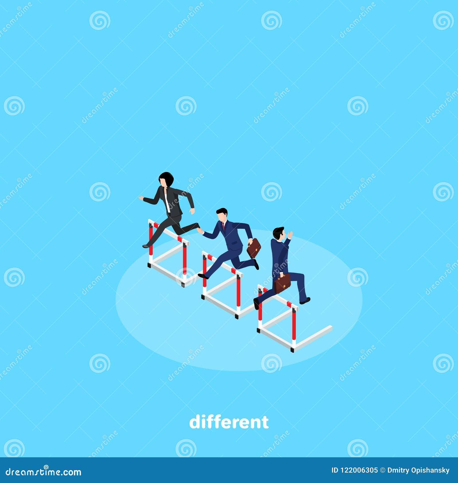 La gente en trajes de negocios compite en el funcionamiento con obstáculos pero corre en diversas direcciones