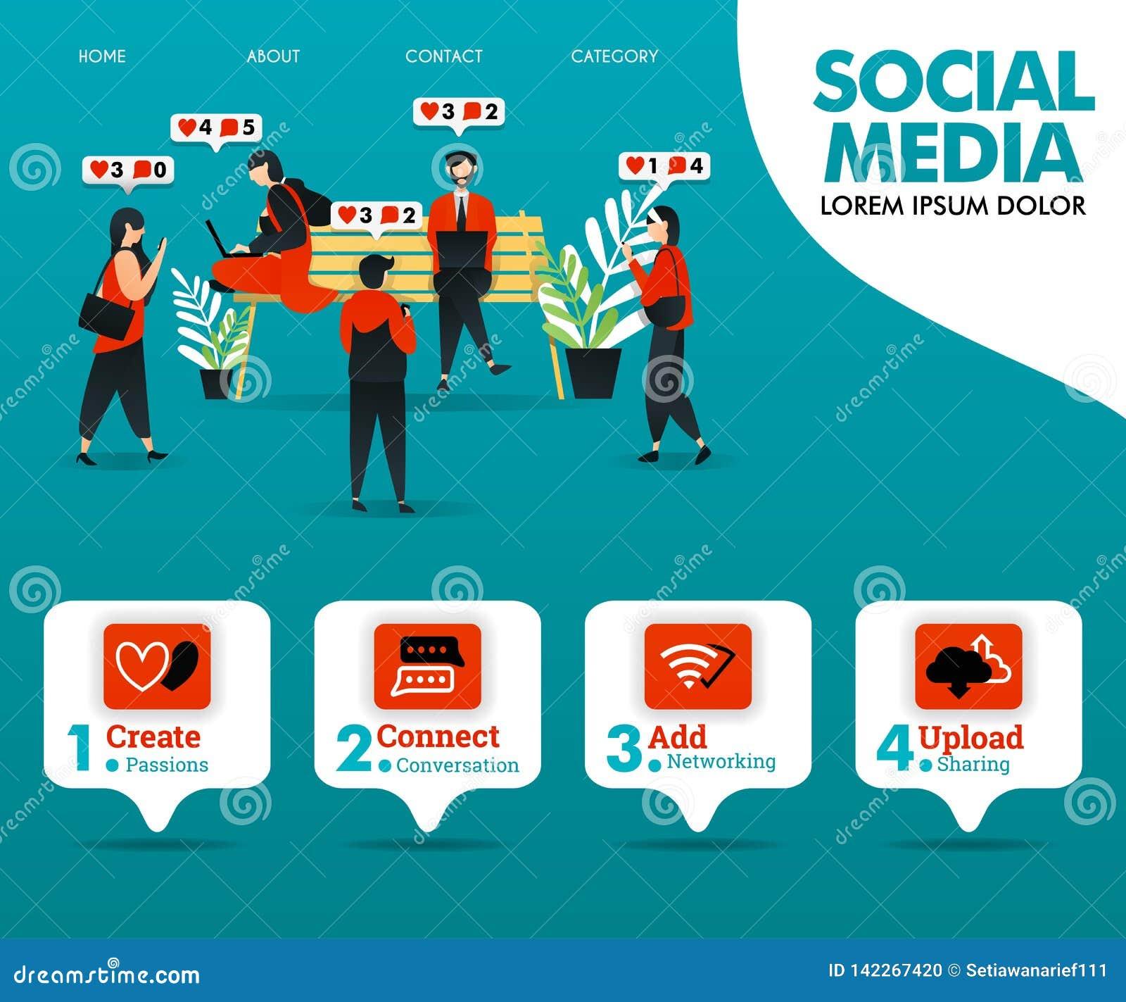La gente está ocupada el obrar recíprocamente en MEDIOS SOCIALES puede utilizar para la página el aterrizaje, plantilla, ui, web,