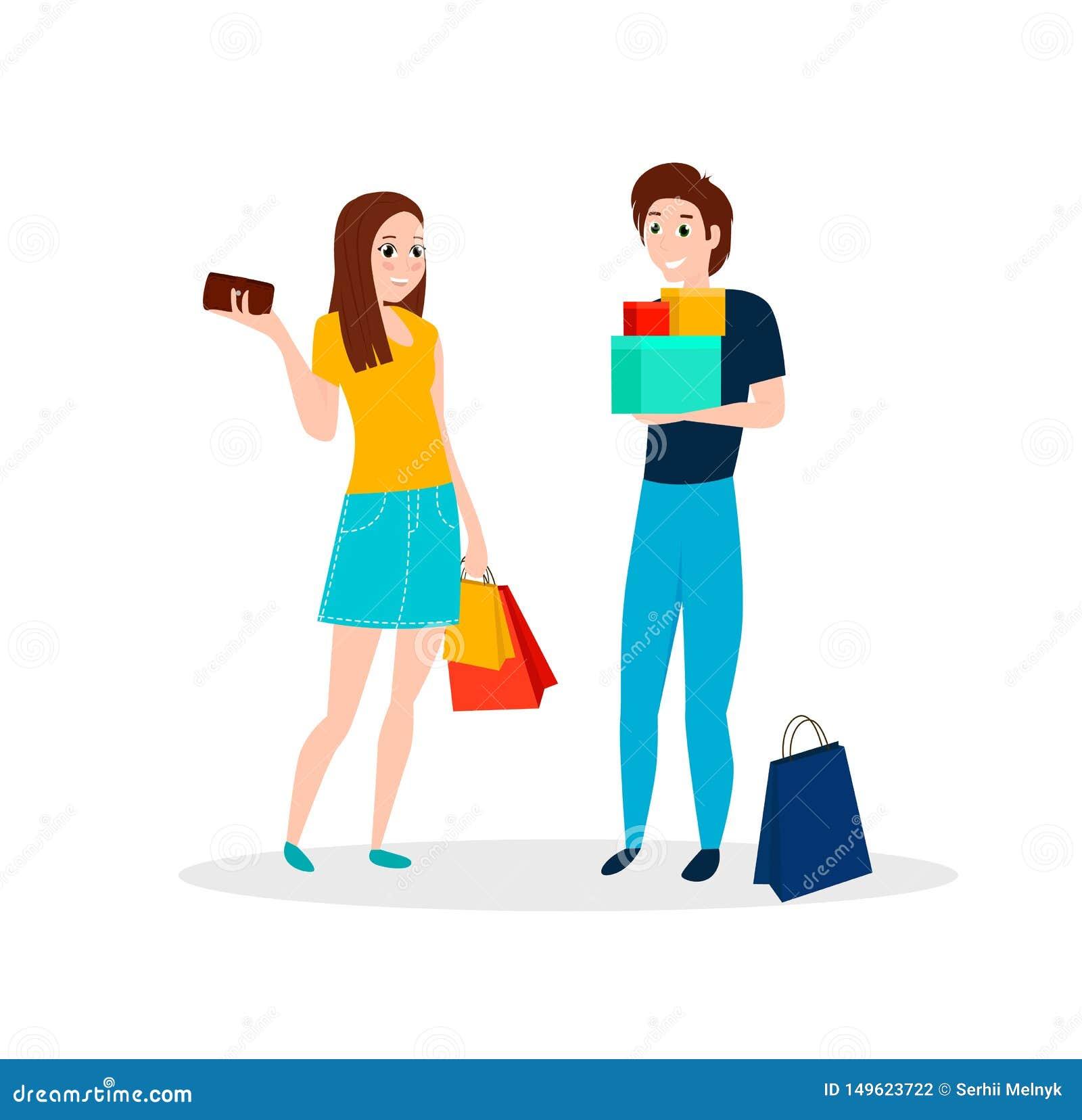 La gente feliz va a hacer compras