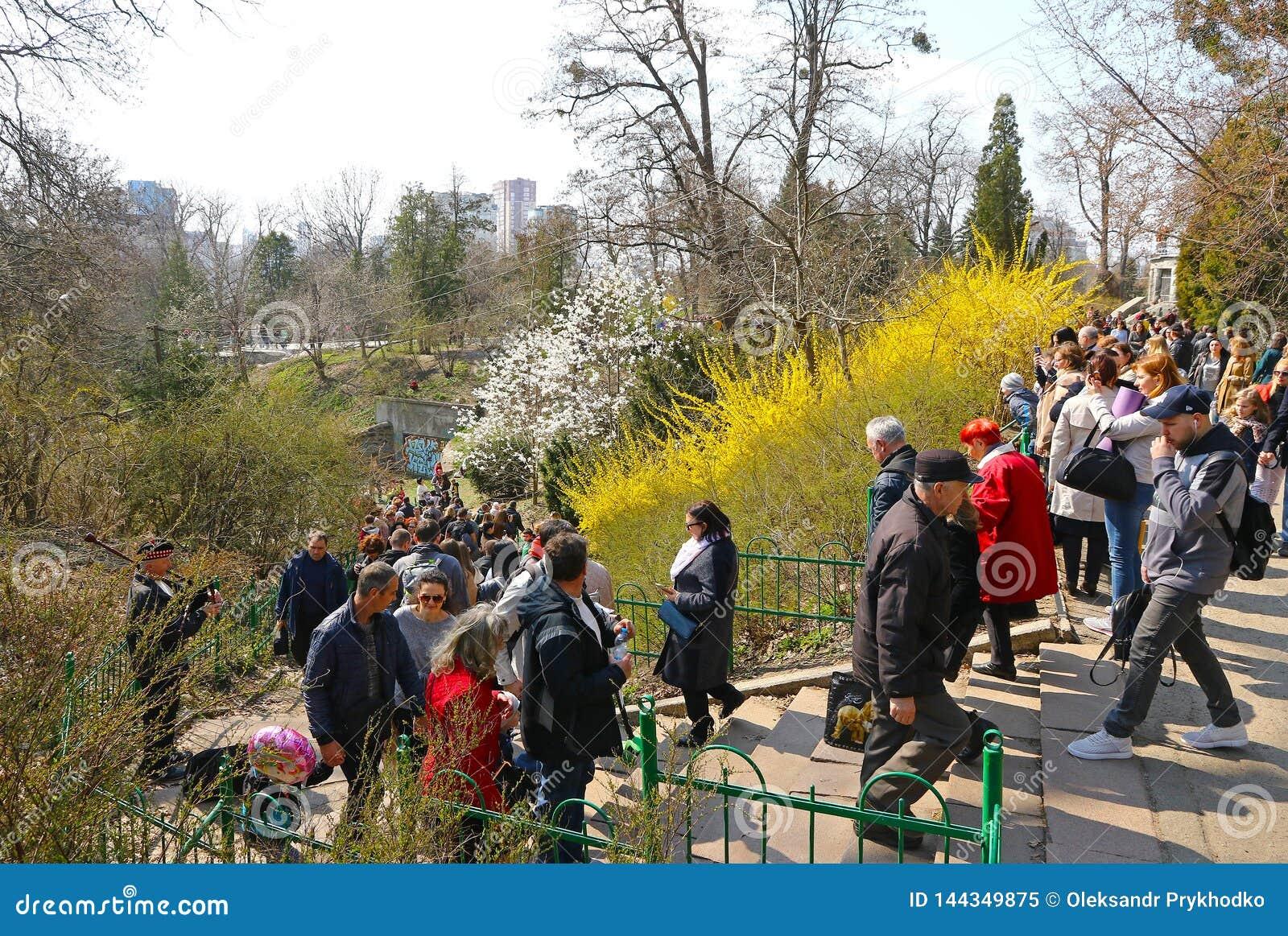 La gente gode di domenica soleggiata al giardino botanico a Kiev