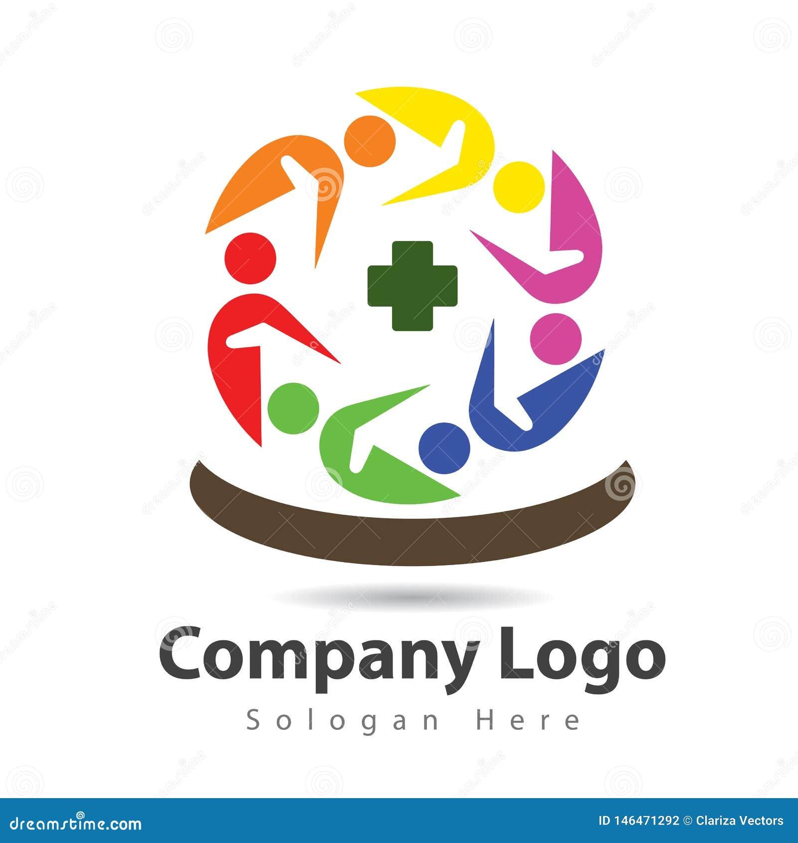 La gente junta combina diseño del logotipo de la atención sanitaria del trabajo