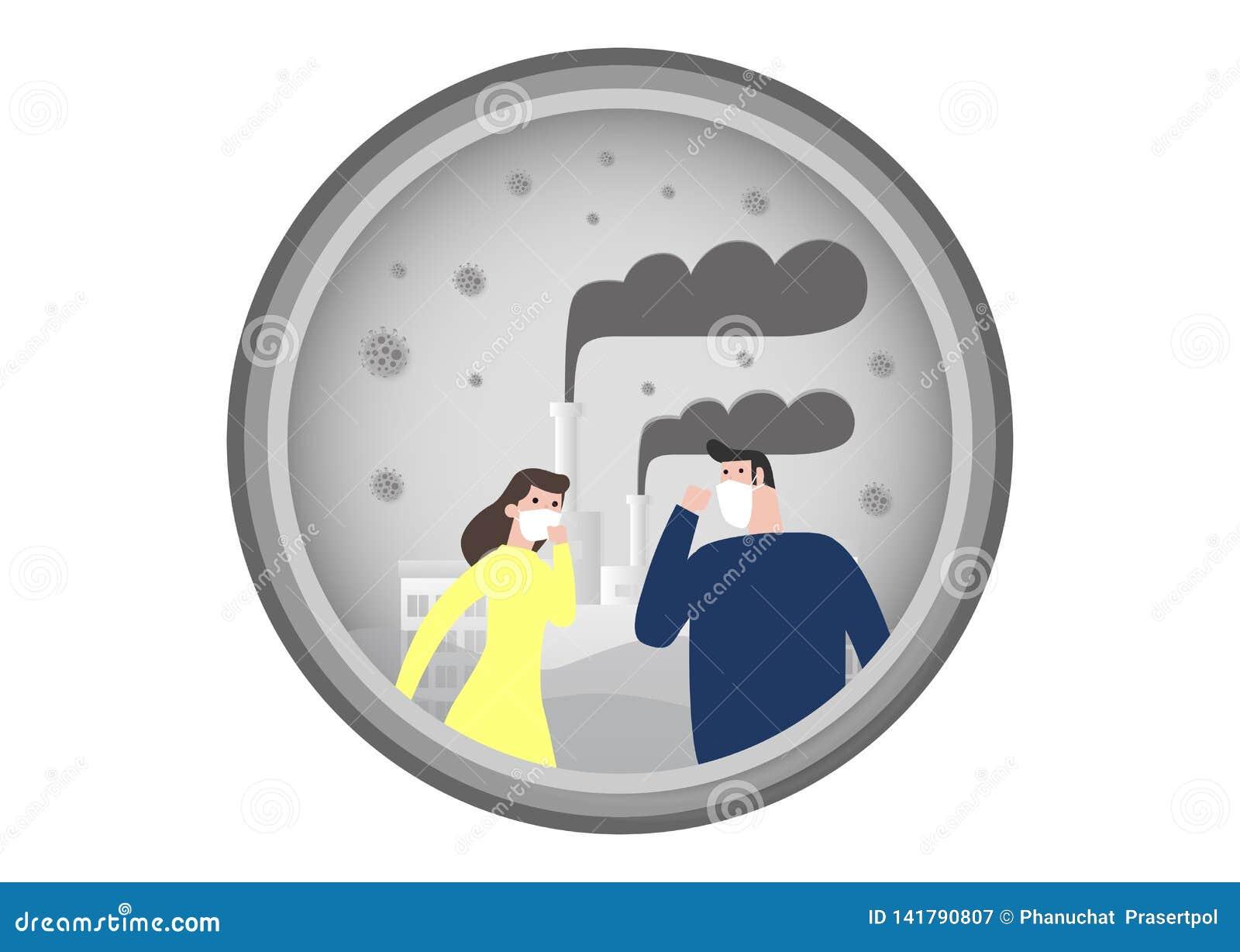 La gente nelle maschere a causa di polvere fine PM 2 maschera d uso di 5, dell uomo e della donna contro smog Polvere fine, inqui