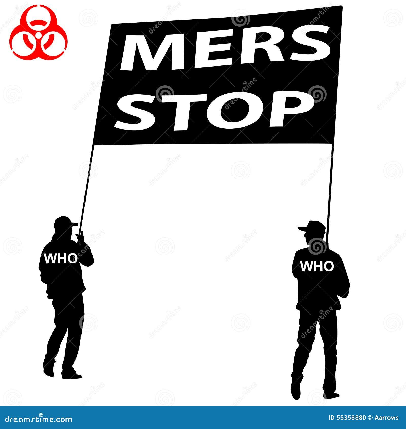 La gente porta un segno di Mers Corona Virus di arresto del manifesto Illus di vettore