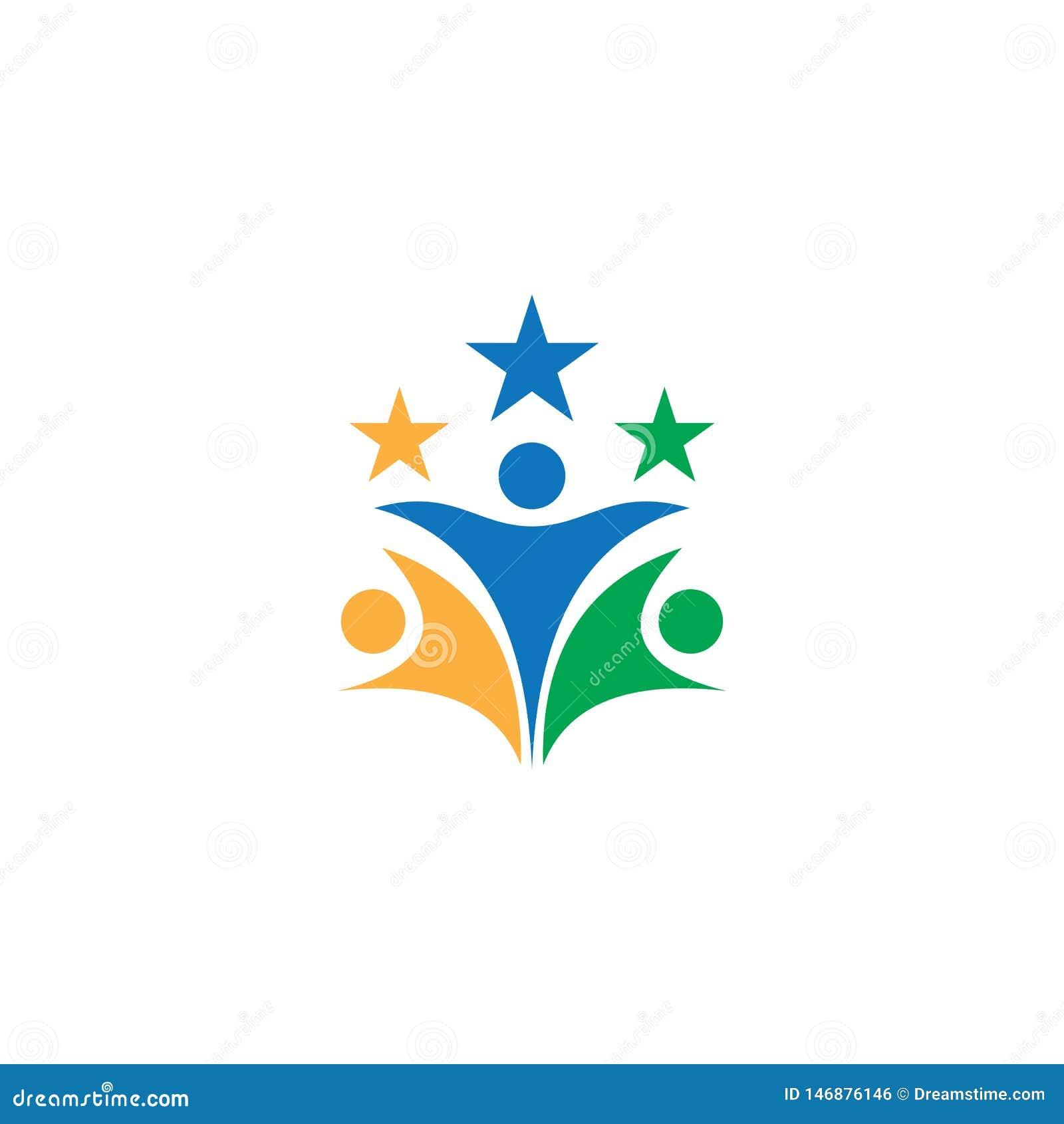 La gente protagoniza el logotipo del negocio del trabajo en equipo