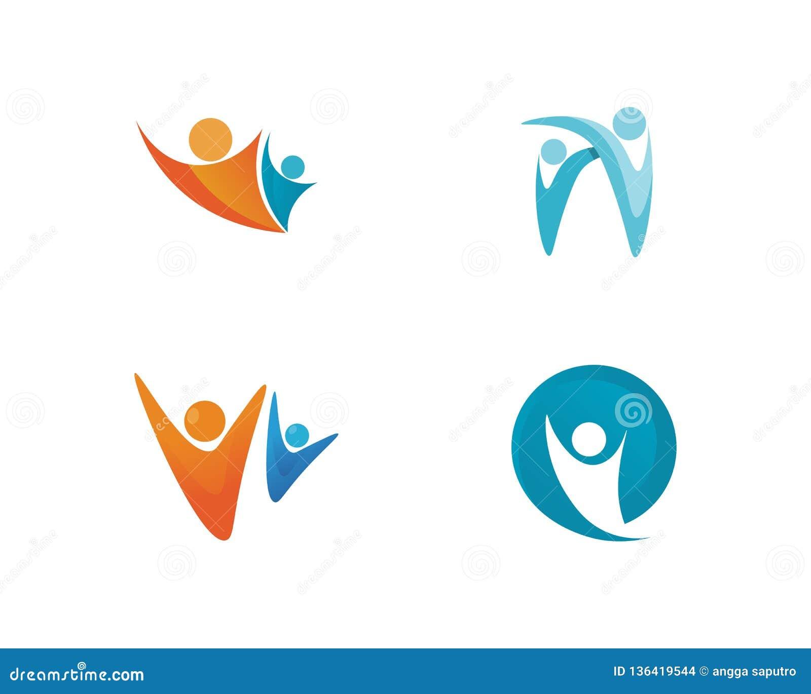 La gente si preoccupa le icone del modello di logo di vita di salute di successo