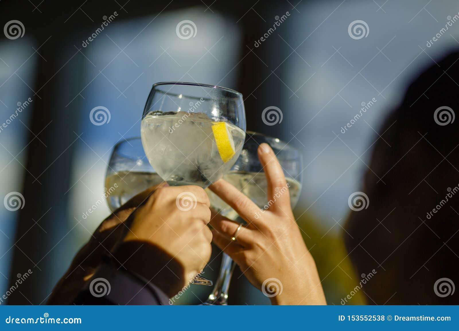 La gente tiene la tostatura con i vetri, amici che celebrano e che tostano