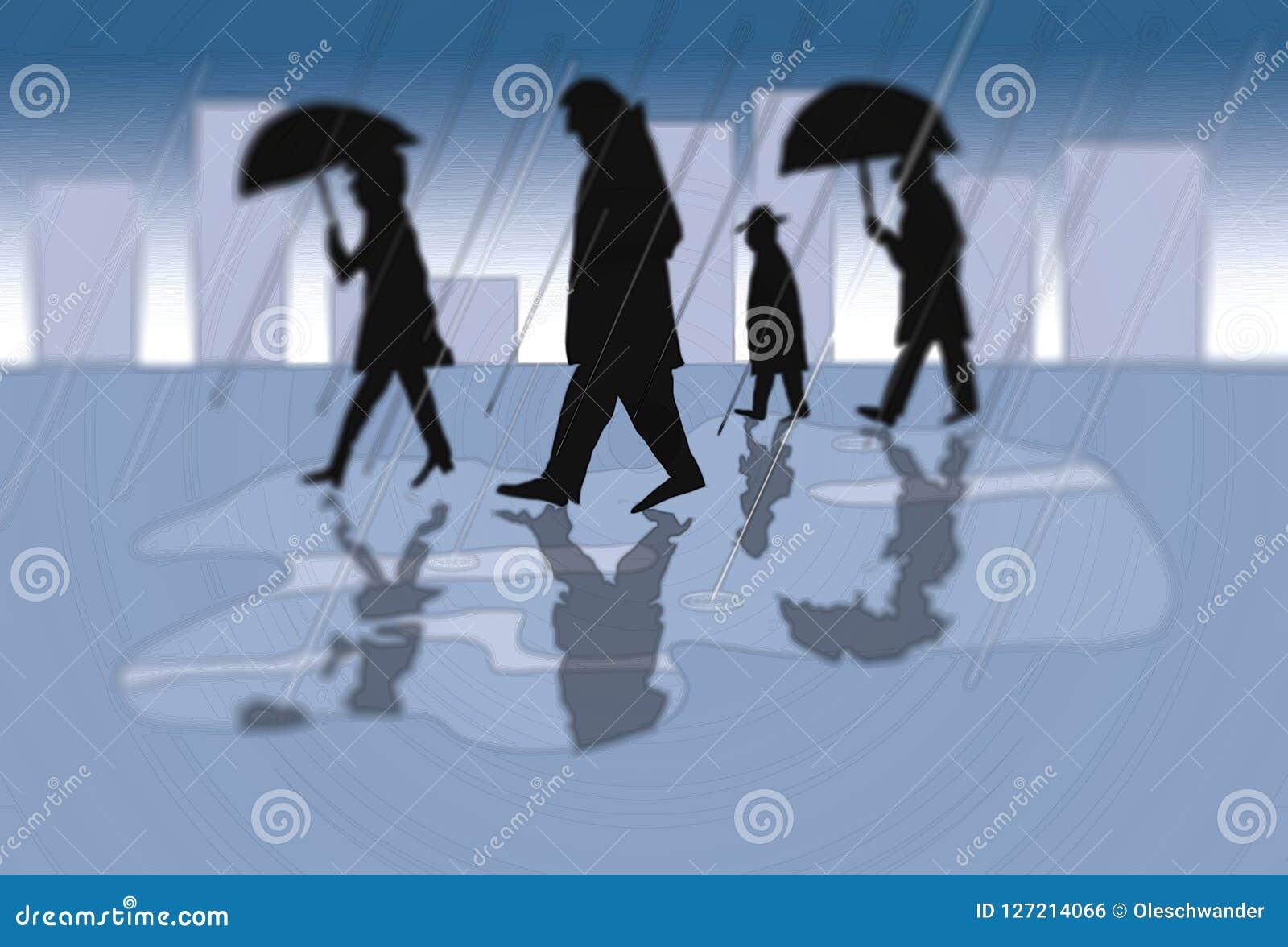 La gente in una città un giorno piovoso - illustrazione nei colori blu sottomessi