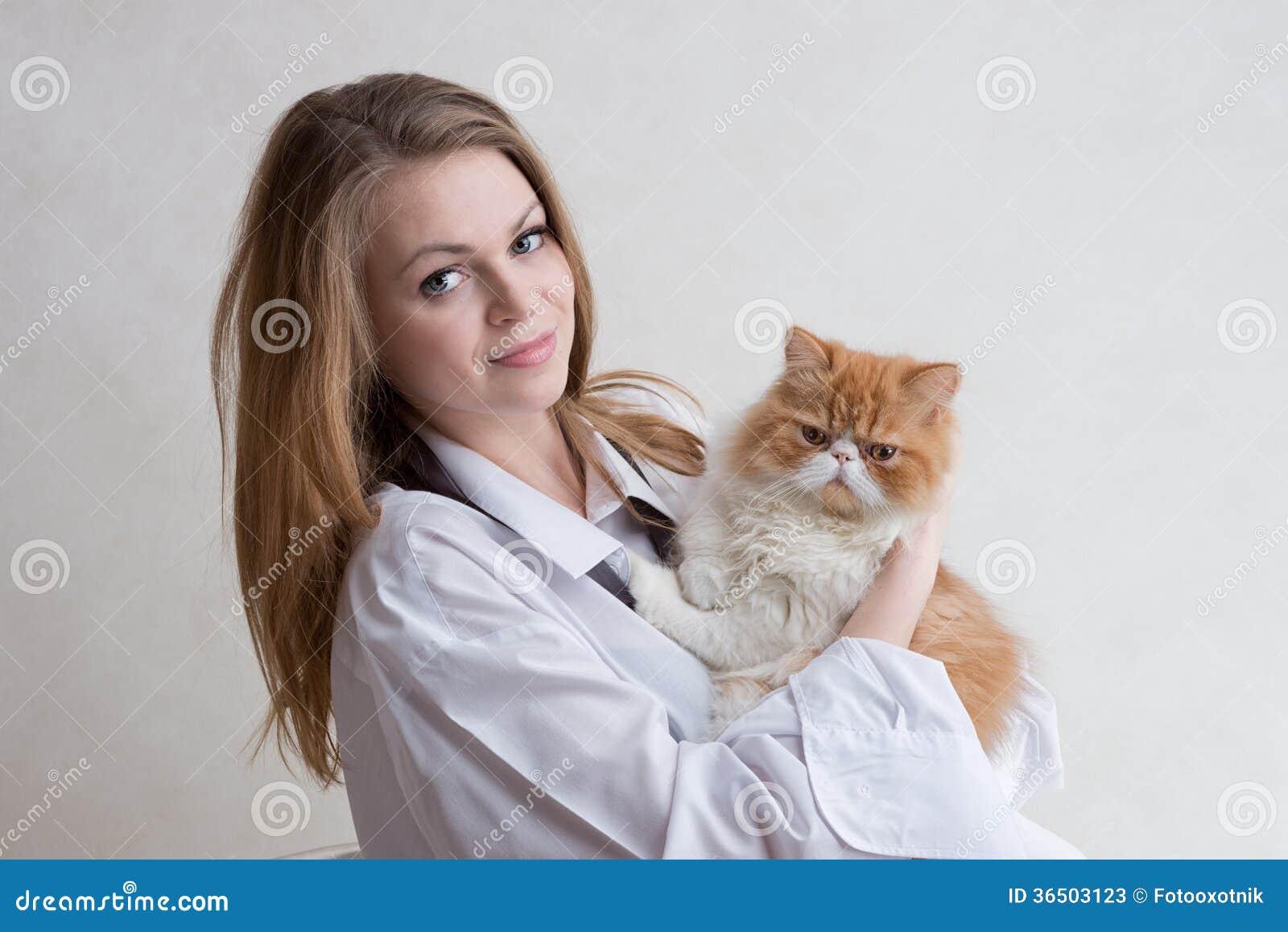 La gentille fille avec un chat rouge sur des mains