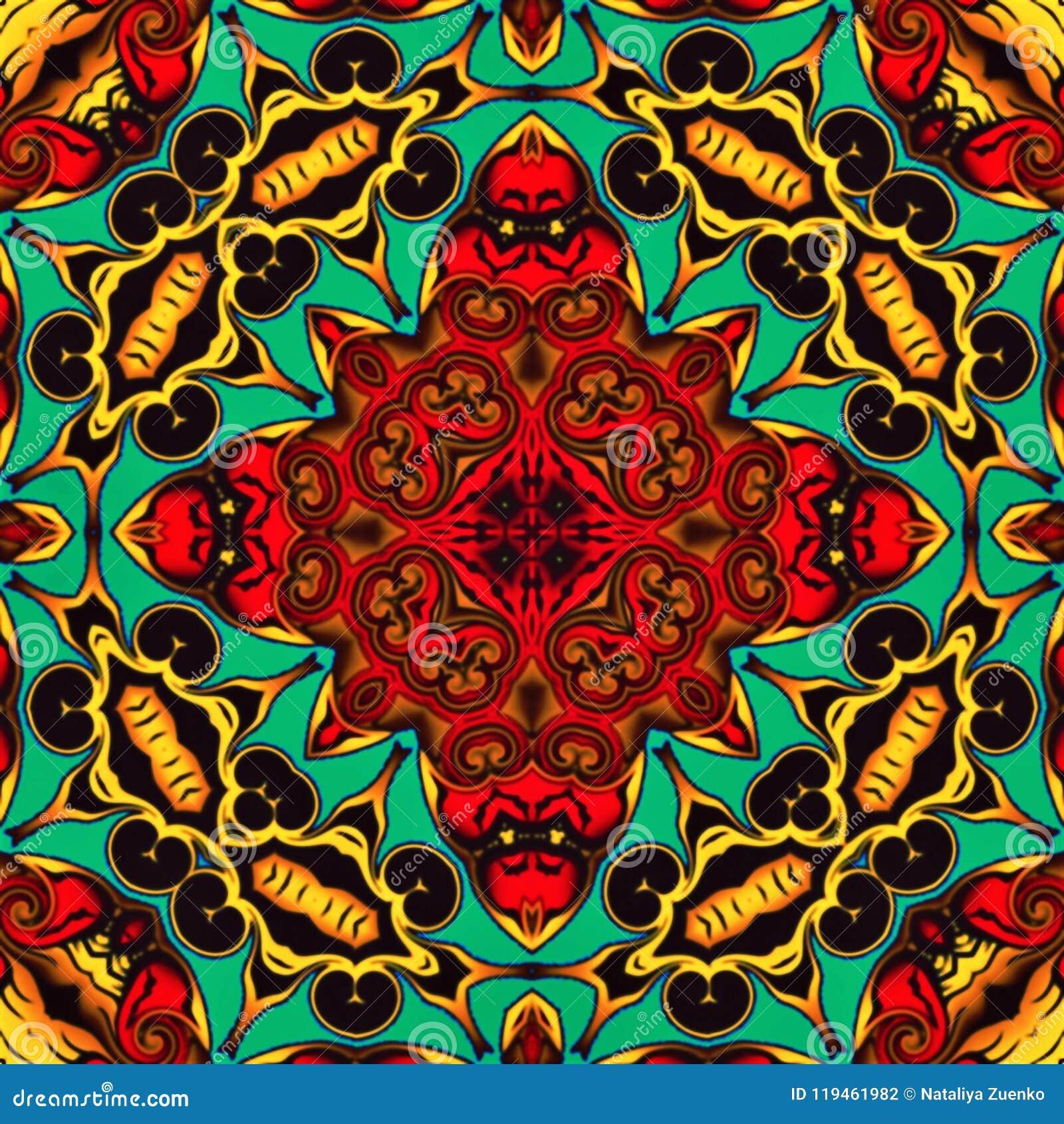La geometria astratta di arte moderna Mandala orientale mistica progettazione tradizionale del caleidoscopio floreale Backgro sim