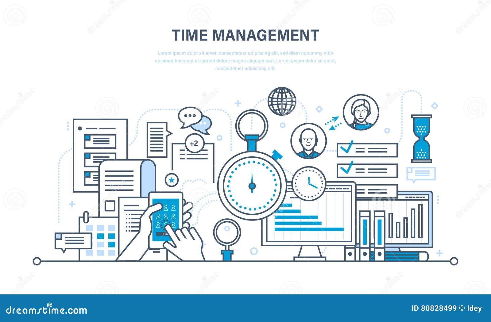 La gestión de tiempo, planeamiento, organización de trabajo, trabaja control de proceso