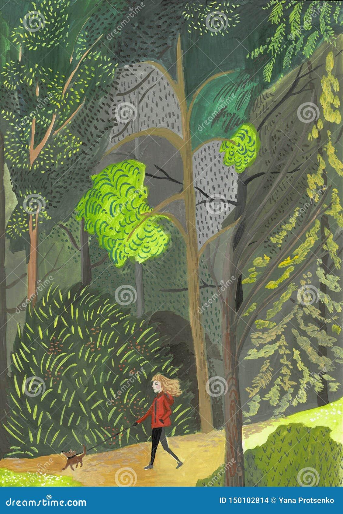 La giovane donna cammina con il cane attraverso il legno Ragazza di concetto in vestito verde con il bassotto tedesco, barboncino