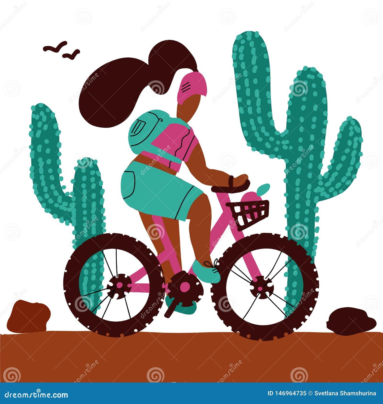 La giovane donna con uno zaino e l uso del casco guida i grandi cactus di un alonf del mountain bike Fumetto bianco isolato del f