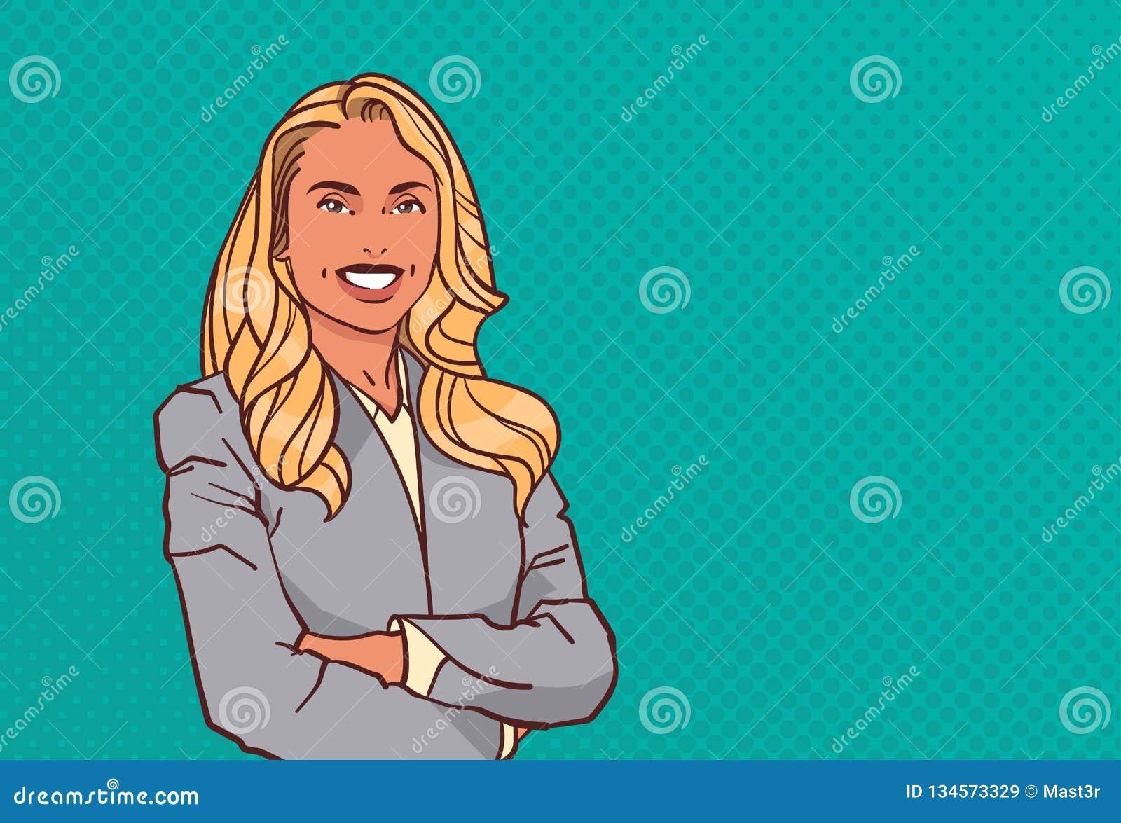 La giovane donna di affari ha piegato le mani posa l orizzontale femminile di stile di Pop art del ritratto del personaggio dei c