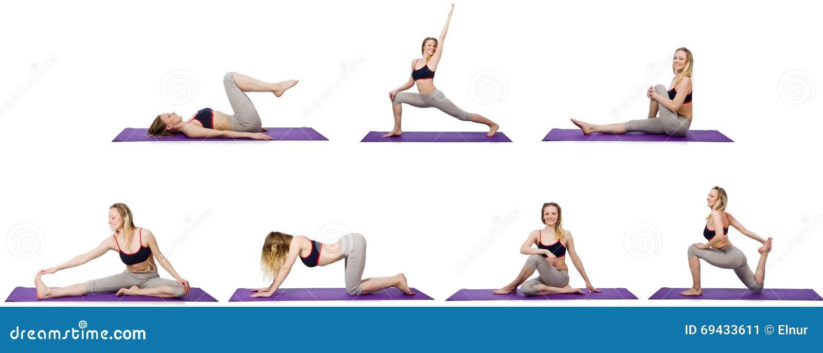La giovane femmina che fa gli esercizi su bianco