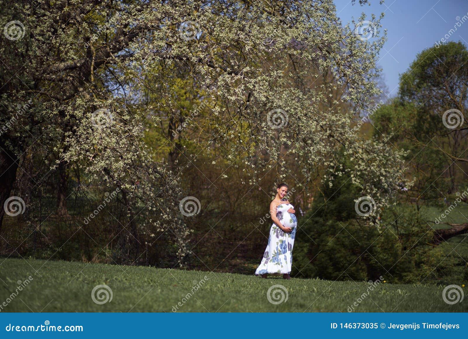 La giovani camminata, funzionamento della donna incinta del viaggiatore, girando intorno e godono del suo tempo libero di svago i