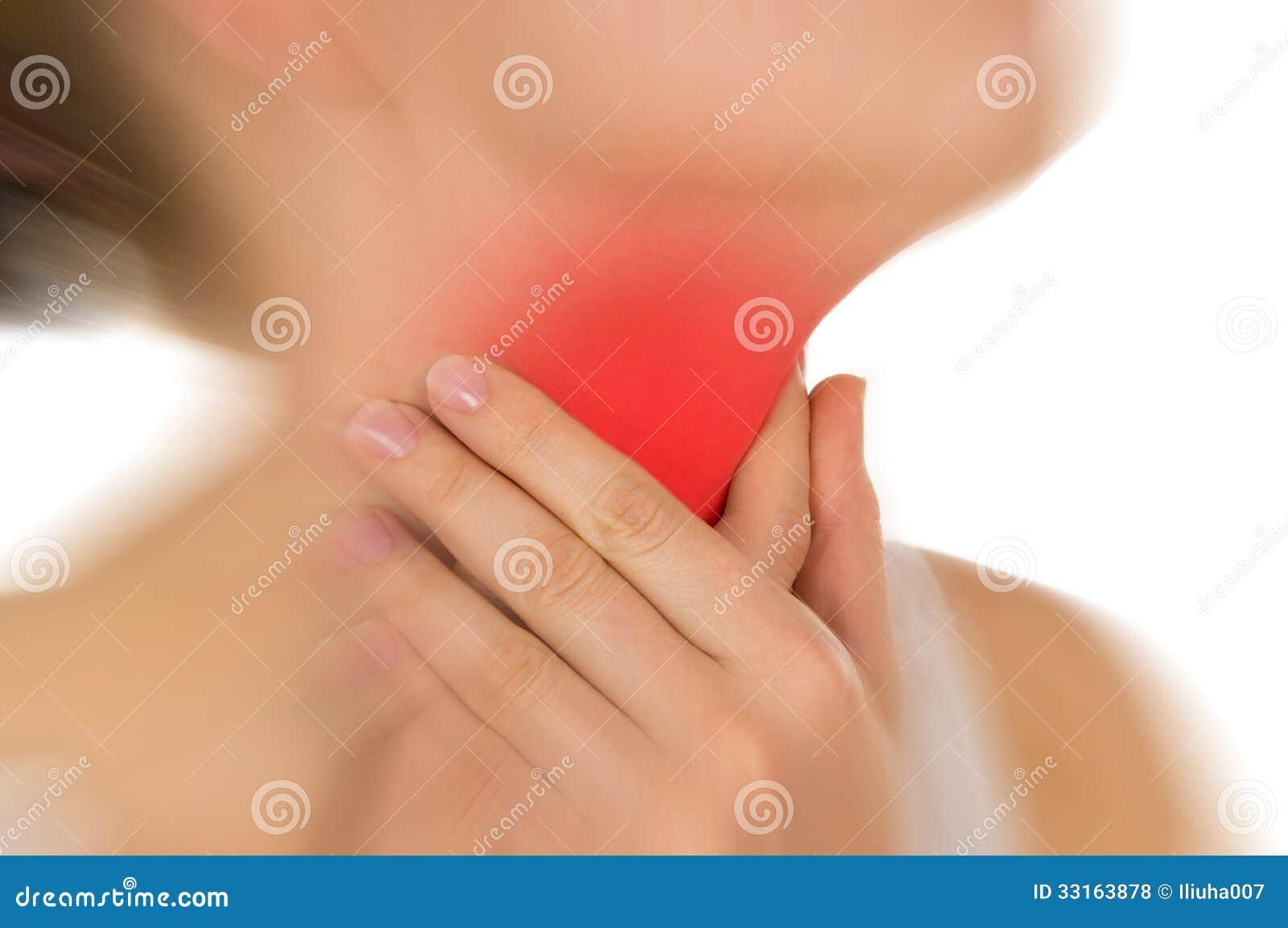La gola irritata, indicata il rosso, tiene passato