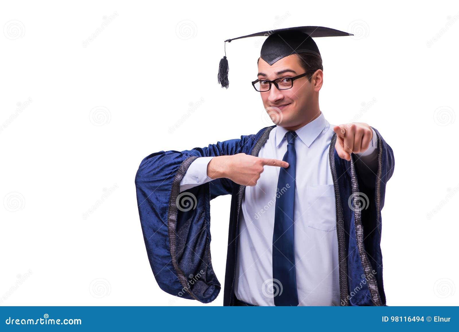 6b1262864 La Graduación Del Estudiante Del Hombre Joven Aislada En Blanco Foto ...
