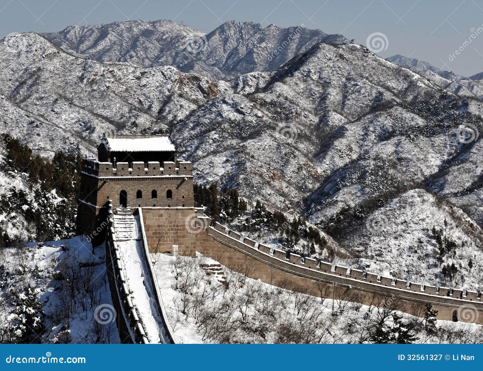 La Gran Muralla en nieve del blanco puro