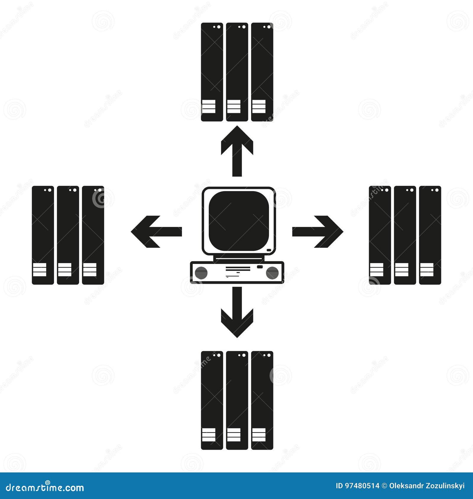 La grande comunicazione del computer di dati con altre Vector l icona nera su fondo bianco