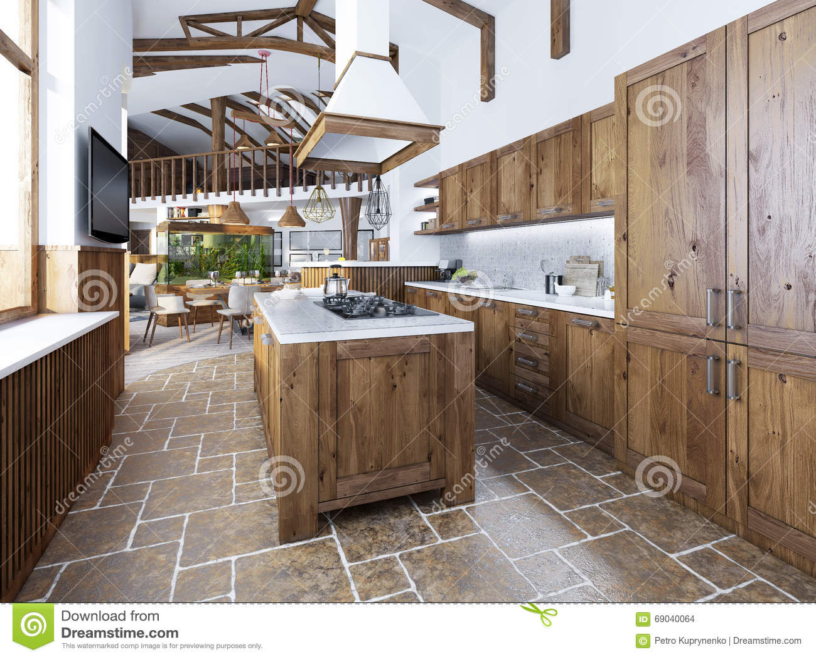 La grande cuisine dans le style de grenier avec une le au milieu photo stock - Cuisine avec presqu ile ...