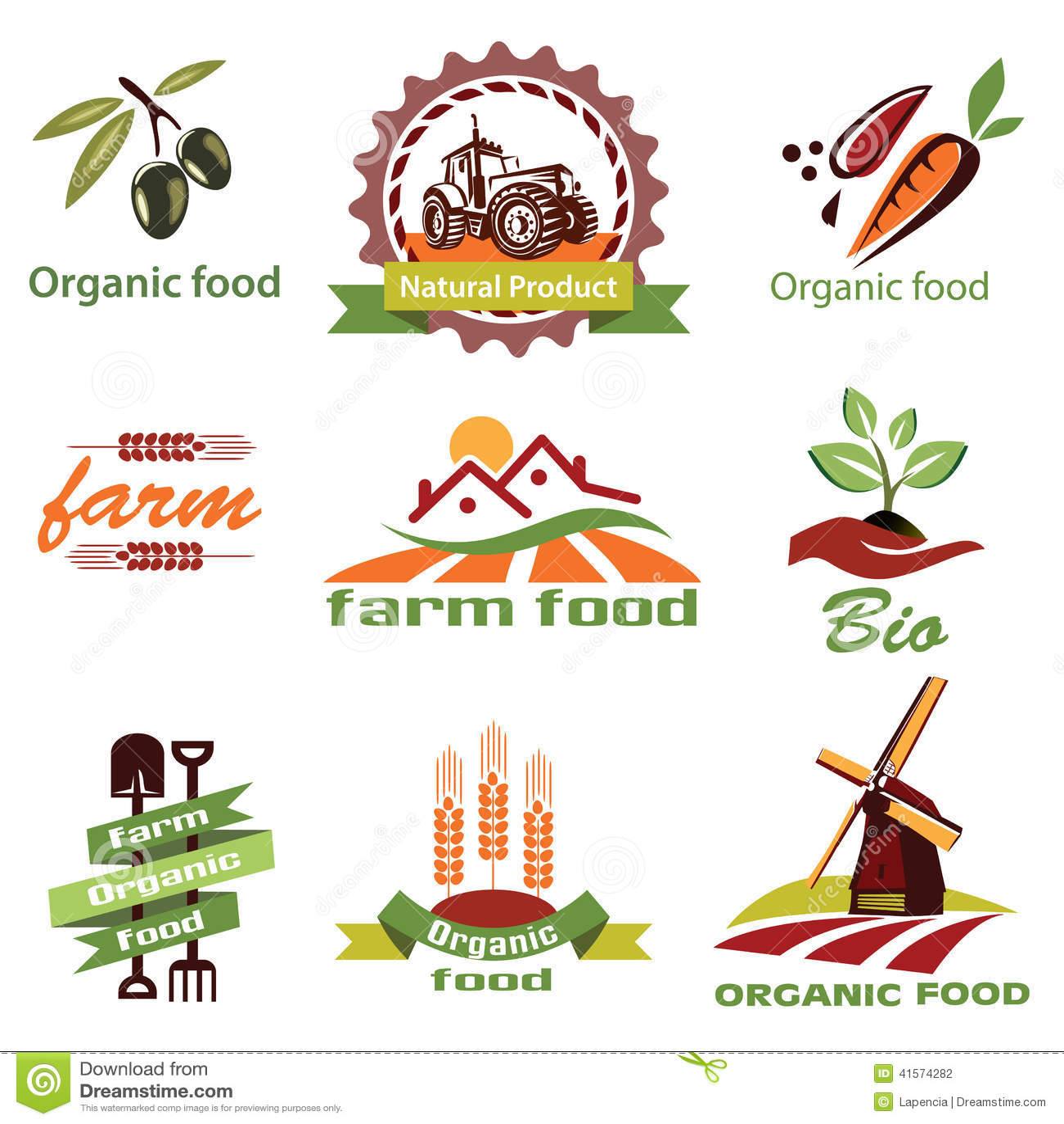 La granja, iconos de la agricultura, etiqueta la colección