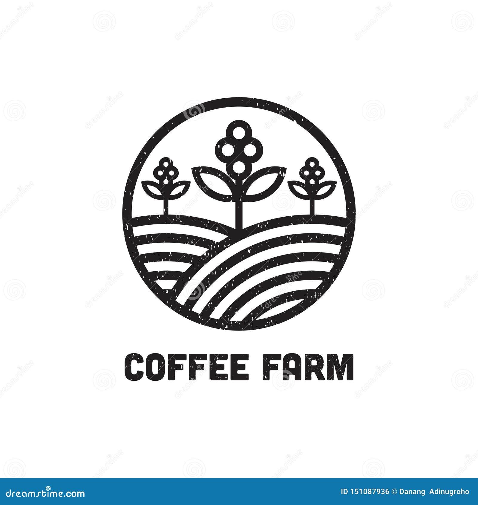 La granja Logo Design Inspiration del café, puede plantilla usada del logotipo del café y de la barra