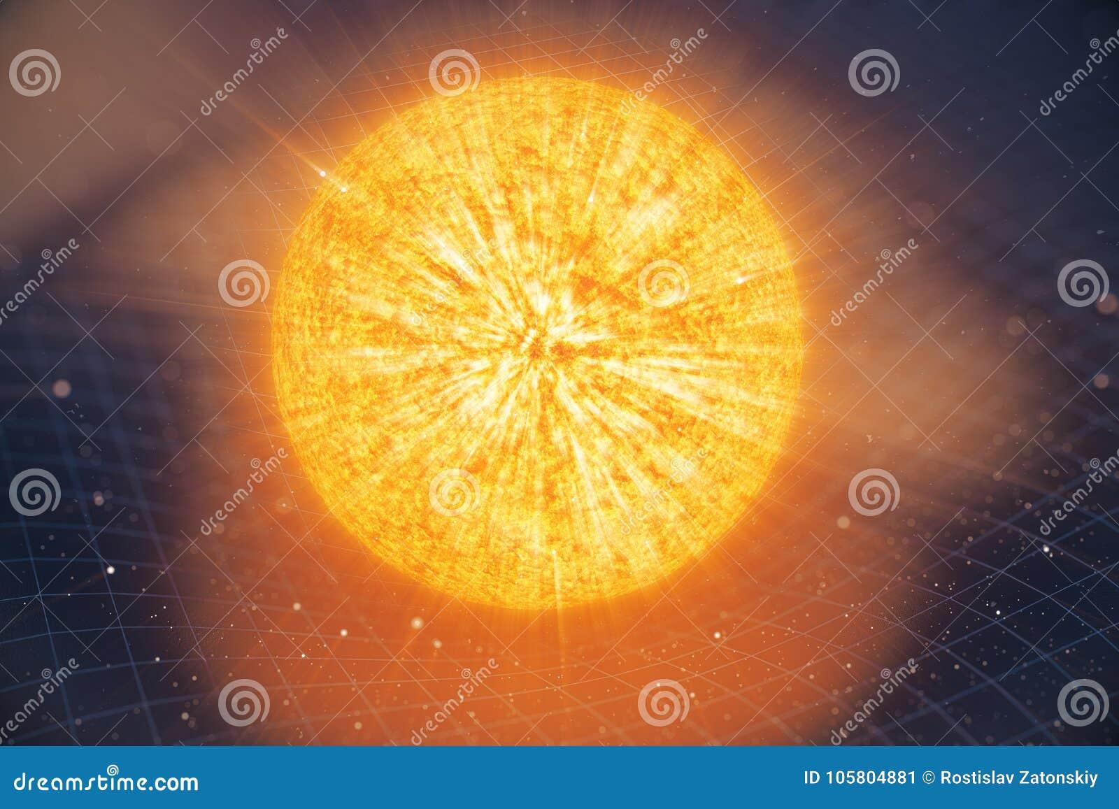 La gravità di Sun dell illustrazione 3D piega lo spazio intorno  con effetto del bokeh La gravità di concetto deforma la griglia