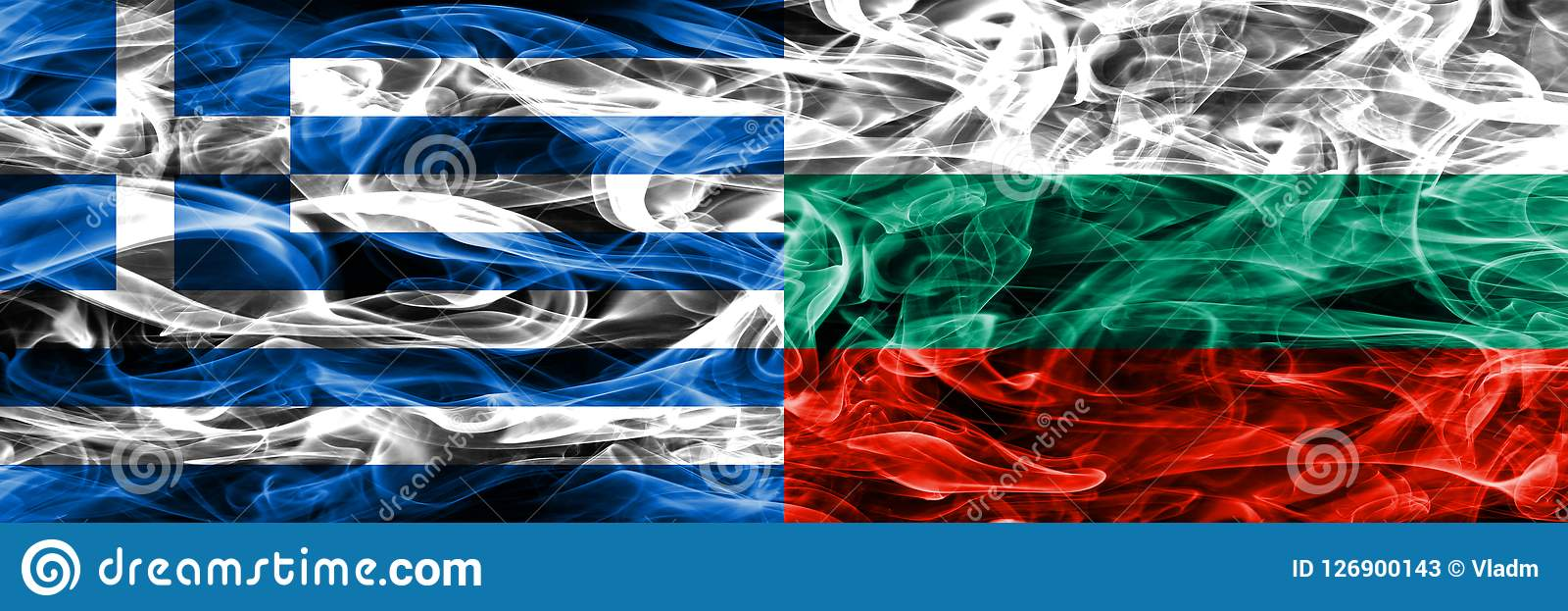 La Grecia contro le bandiere del fumo della Bulgaria disposte parallelamente Colore spesso Illustrazione Vettoriale