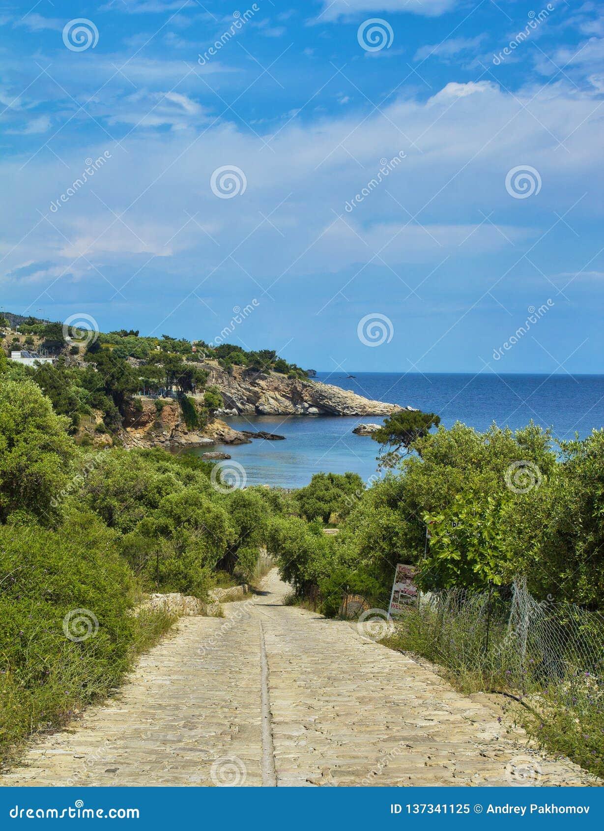 La Grecia, isola di Thassos bella vista dalle montagne all oceano ed alla natura vista panoramica della natura in Grecia