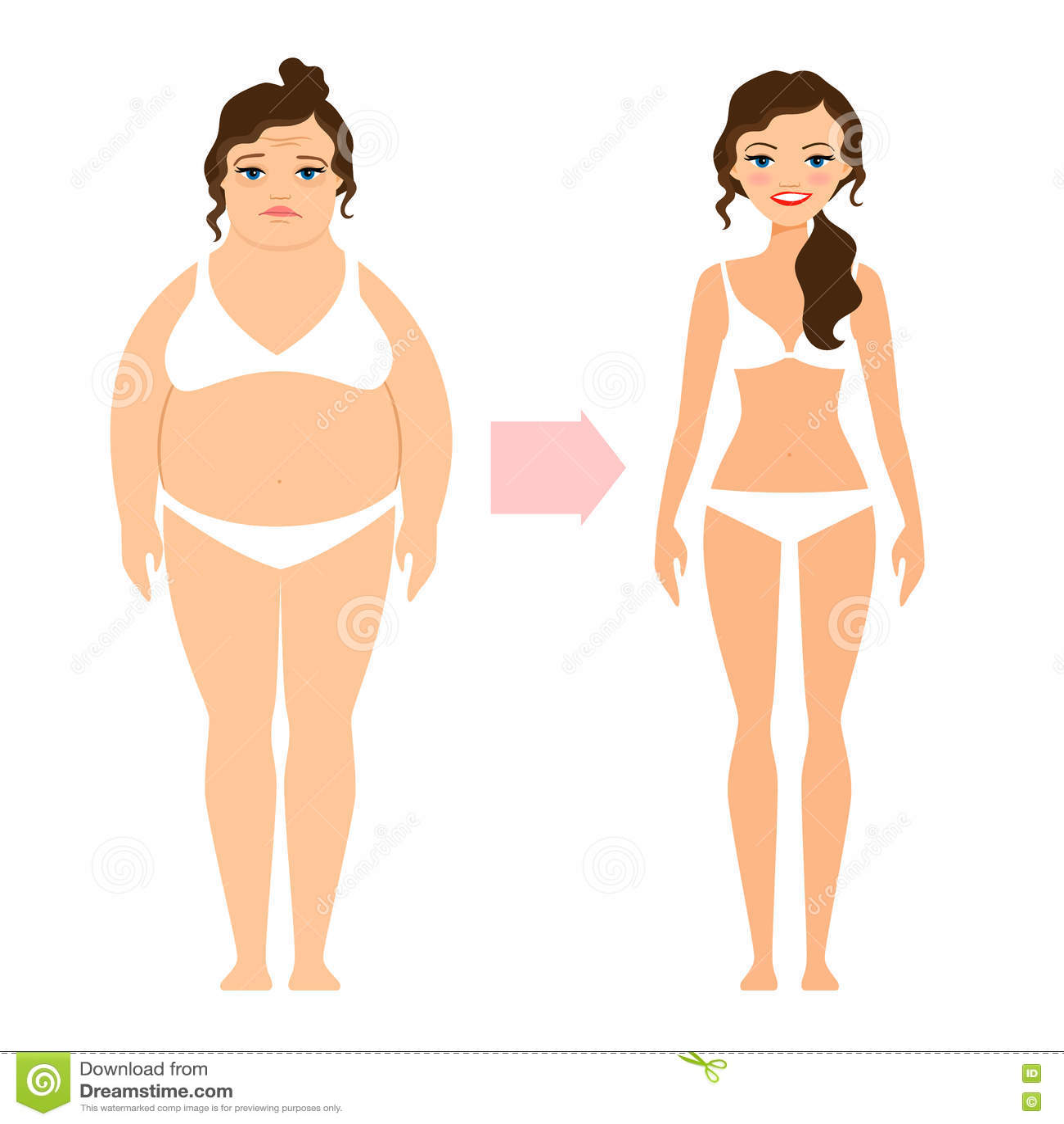 Grosse Dame Image la grosse dame et amincissent la femme de régime illustration de
