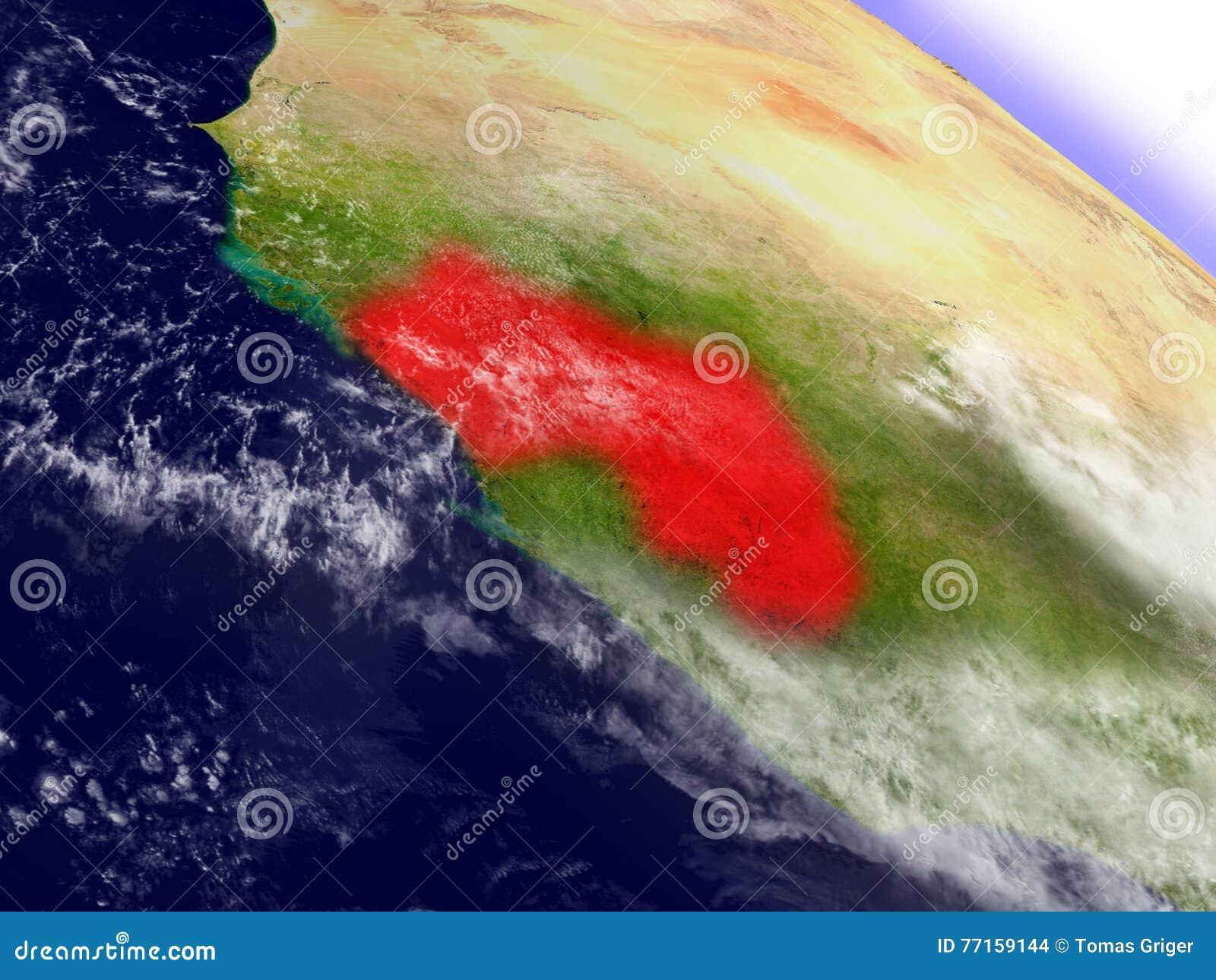 La Guinée de l espace accentué en rouge
