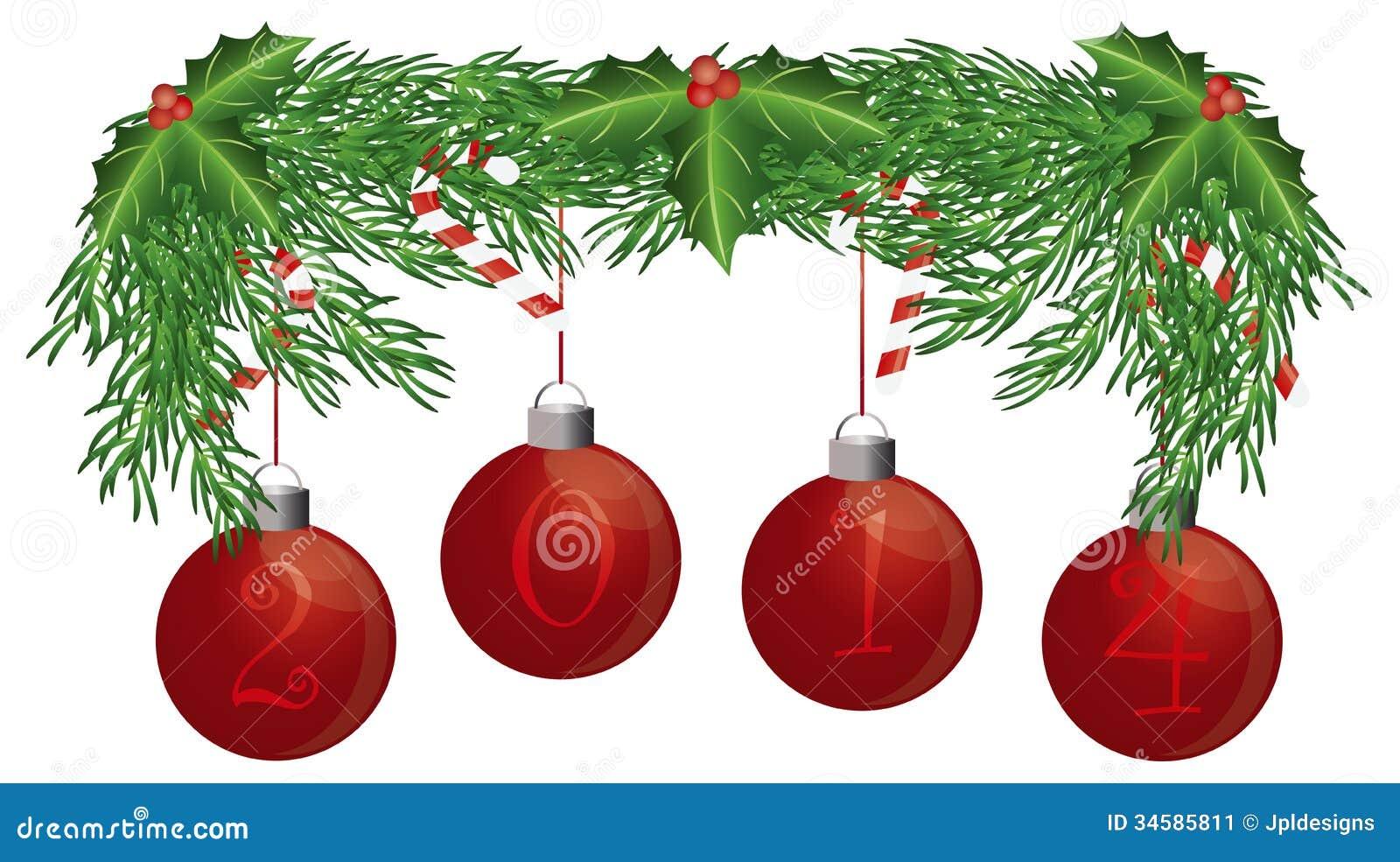 La guirnalda del árbol de navidad con 2014 ornamentos aisló el ejemplo