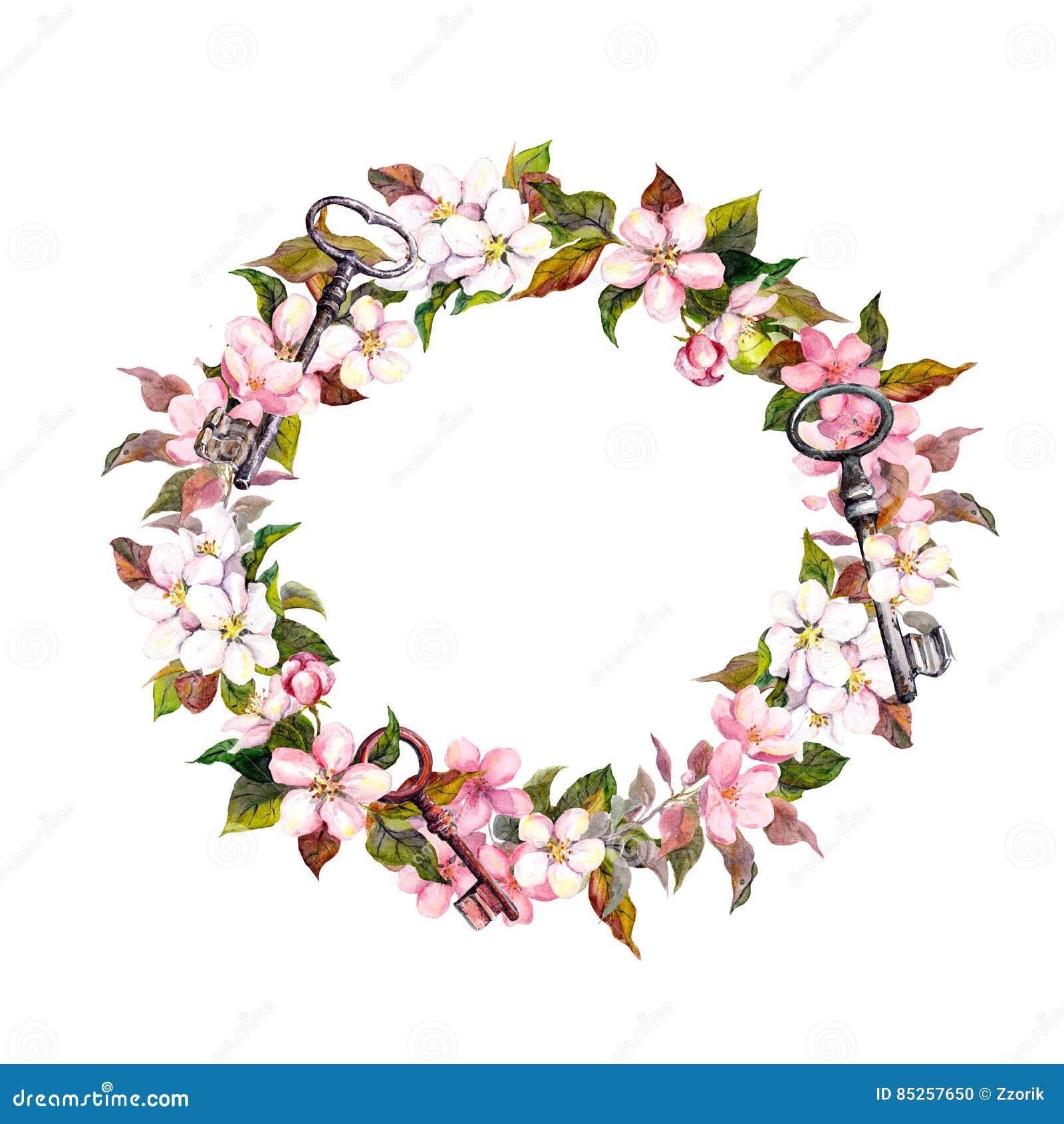 La guirnalda floral del vintage con la primavera florece, las plumas, llaves Frontera redonda de la acuarela