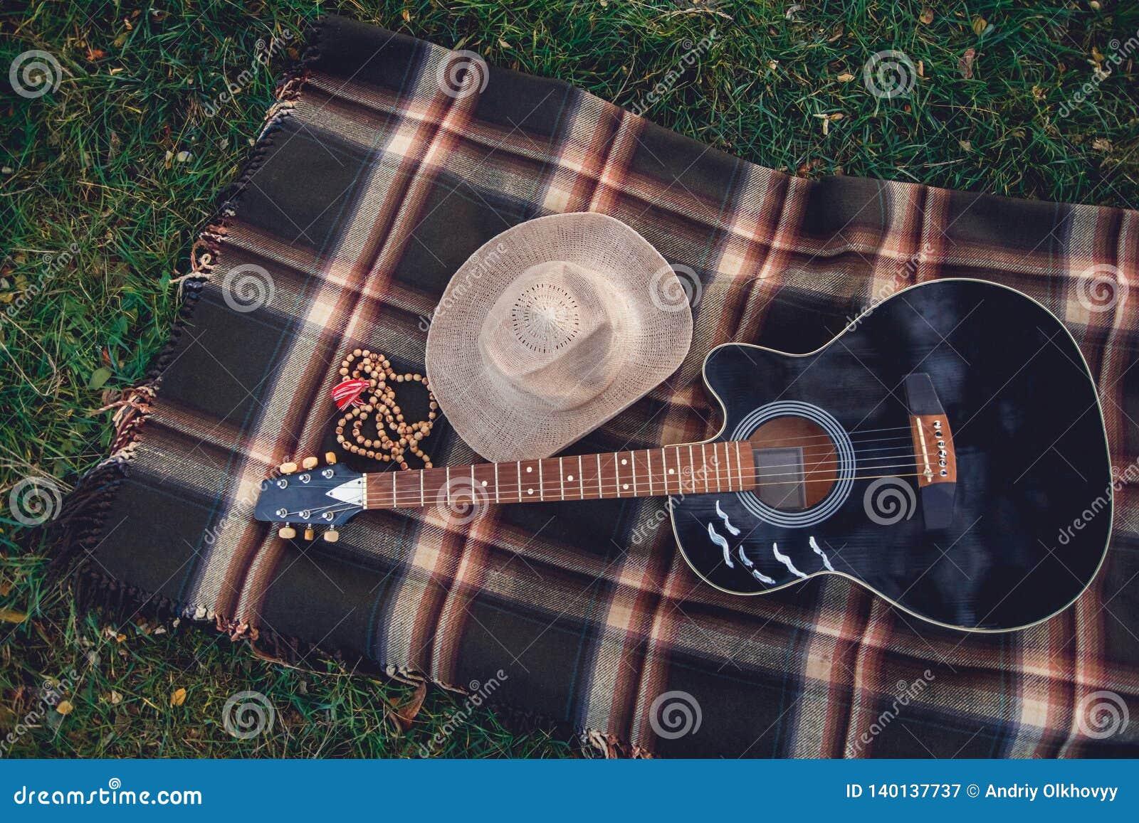 La guitarra, la cesta, los bocadillos, la tela escocesa y el jugo en una floración cultivan un huerto Fondo blando del vintage Ro