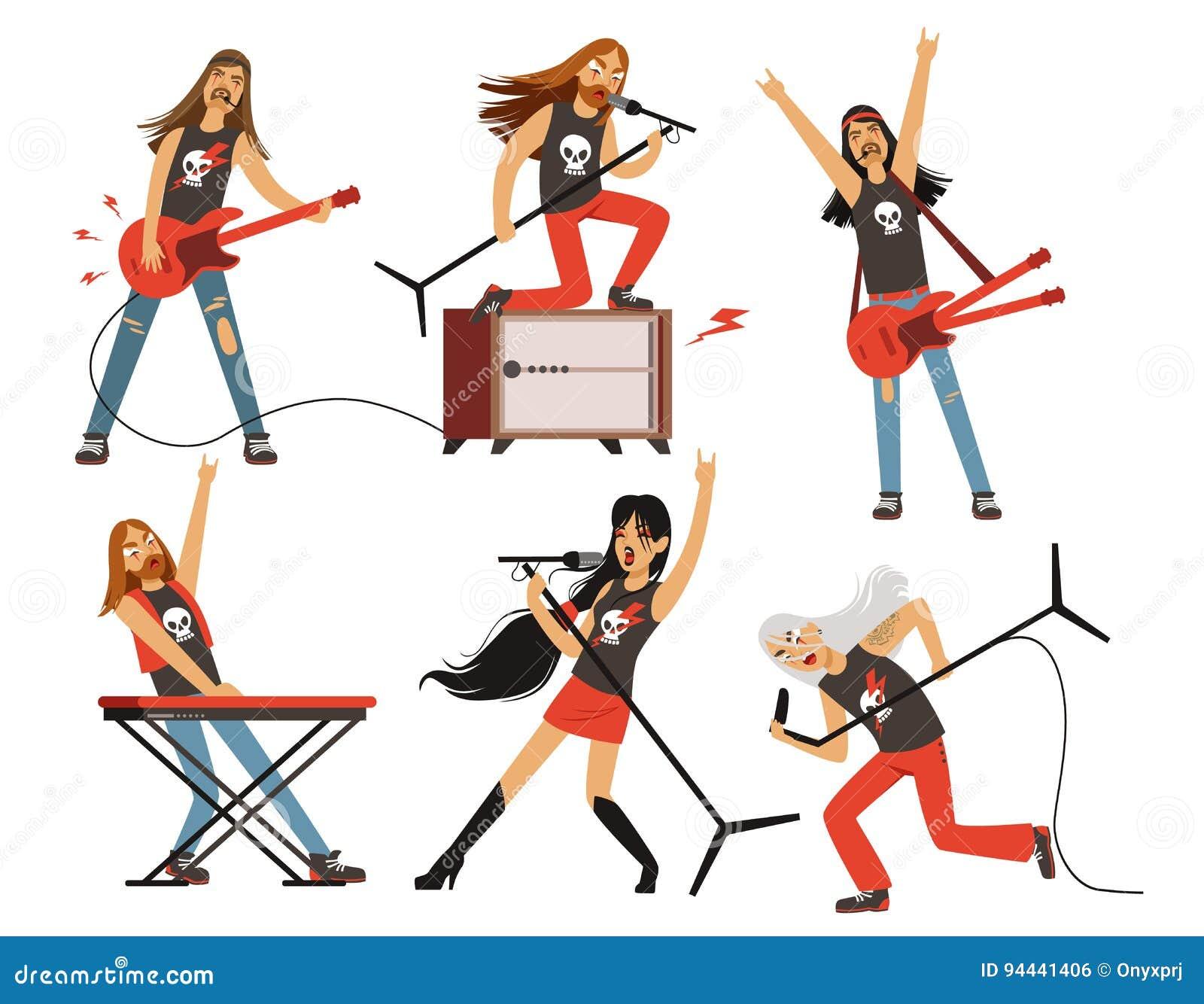 La guitarra, el amplificador y el otro equipo de la música Caracteres de la banda de la roca o de estallido Ejemplos del vector f