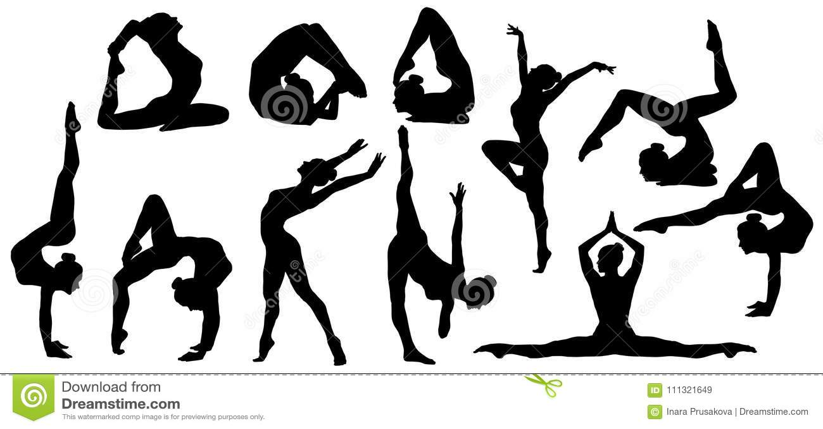 La gymnastique pose la silhouette, ensemble d exercice flexible de gymnaste