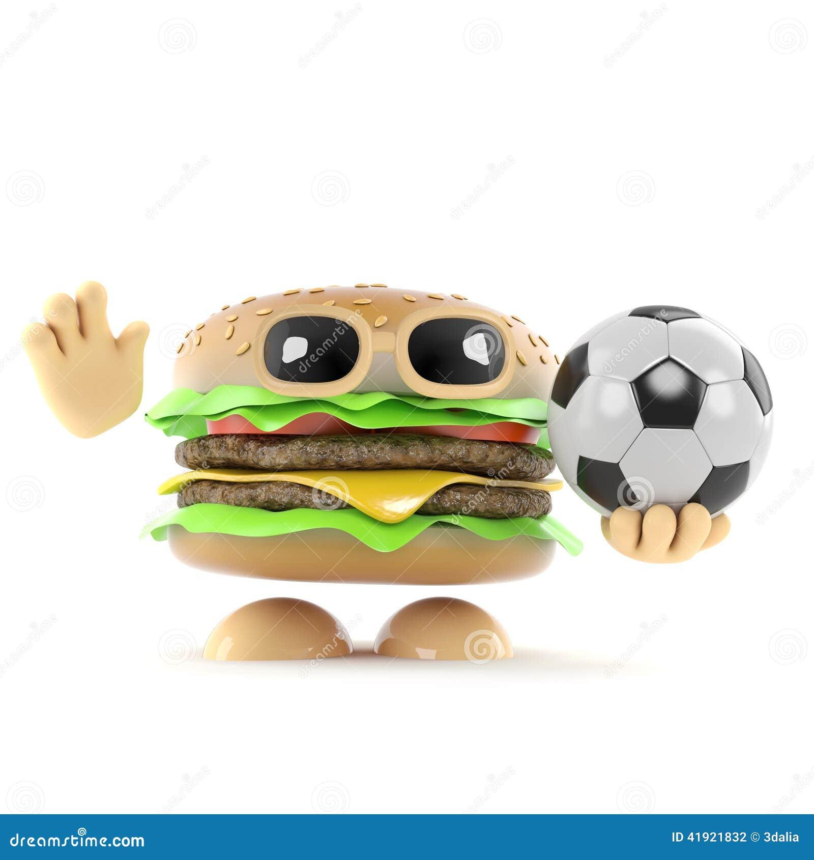 La hamburguesa 3d juega a fútbol