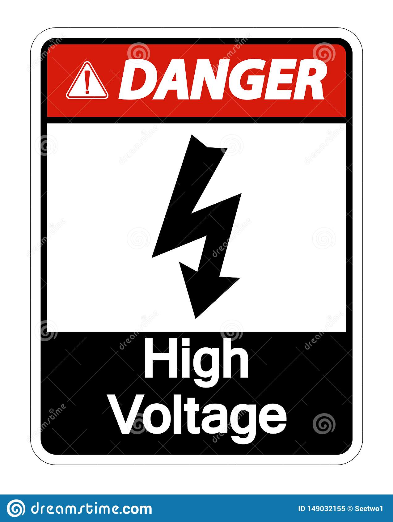 La haute tension de danger se connectent l isolat blanc de fond sur le fond blanc, illustration de vecteur