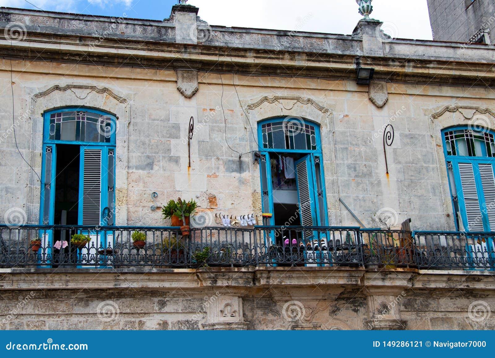 03/25/2019 La Havane, Cuba, terrasse coloniale ? vieille La Havane centrale