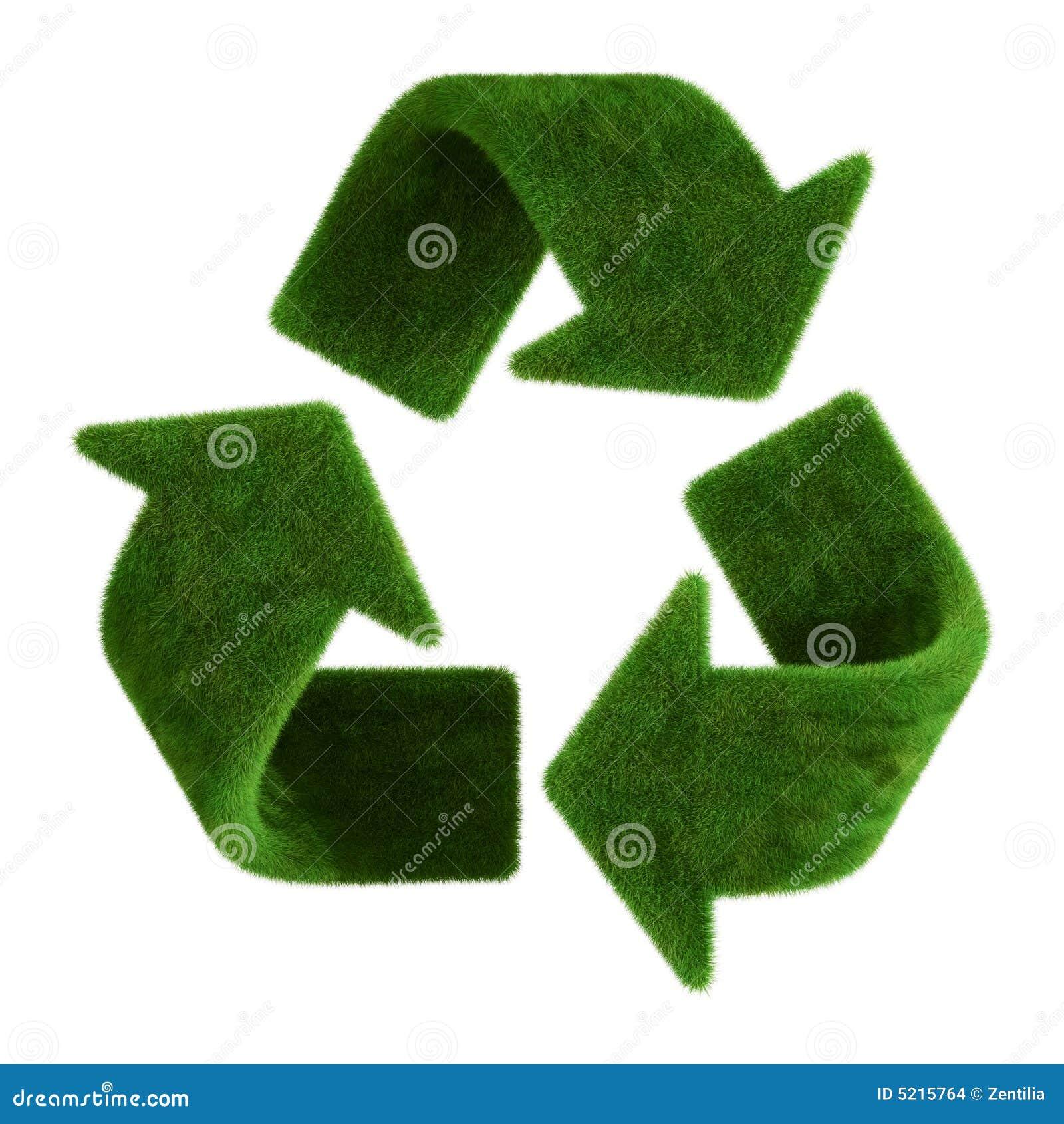 La hierba recicla símbolo