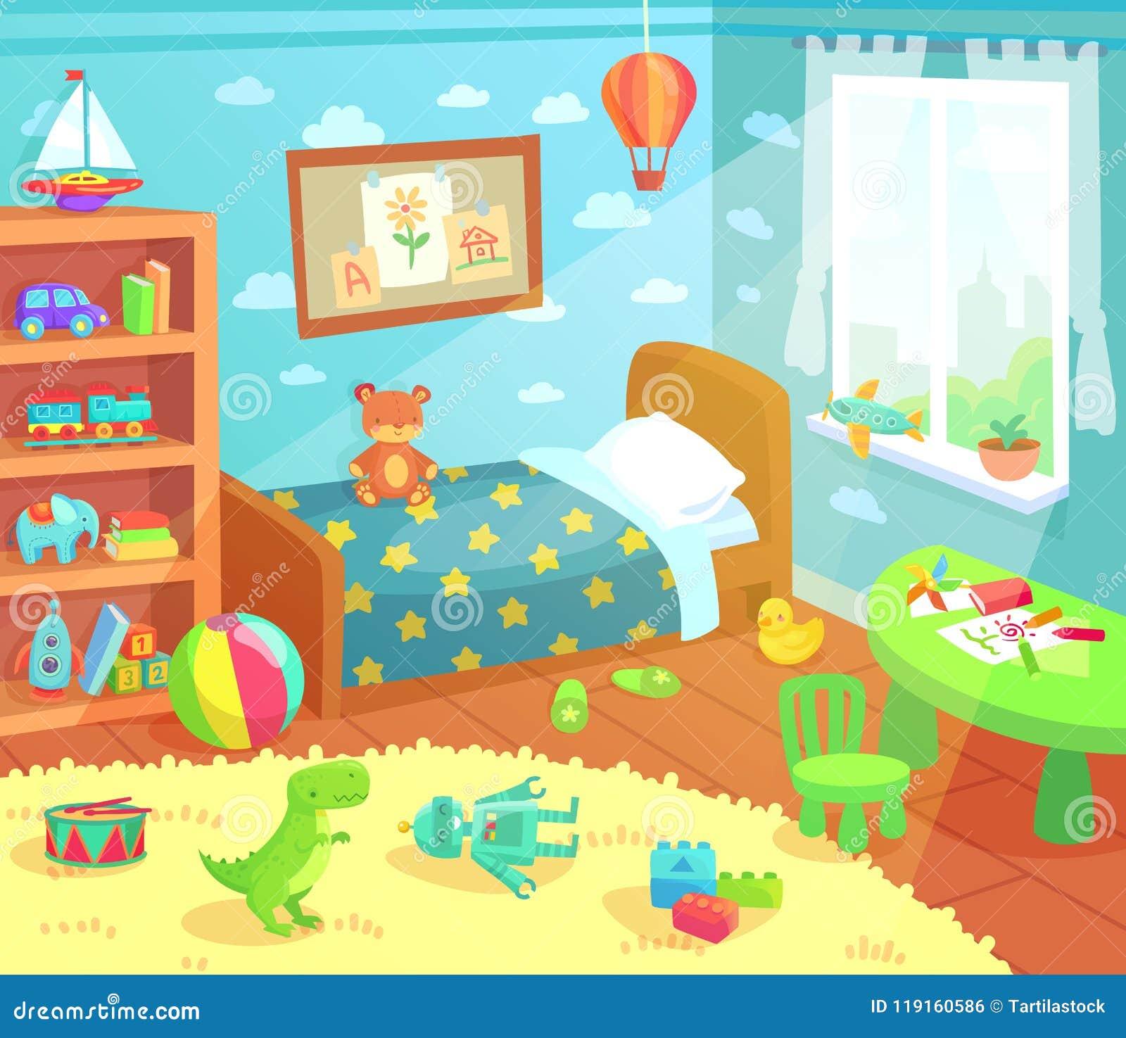 La historieta embroma el interior del dormitorio El sitio de niños casero con la cama del niño, los juguetes del niño y la luz de
