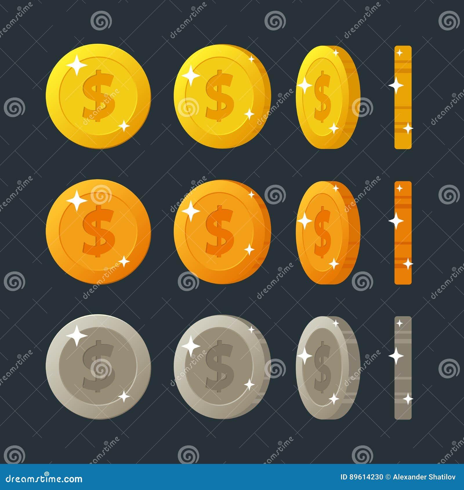 La historieta plana de oro, de plata y de bronce acuña la rotación para el interfaz del web o del juego Ejemplo del vector aislad